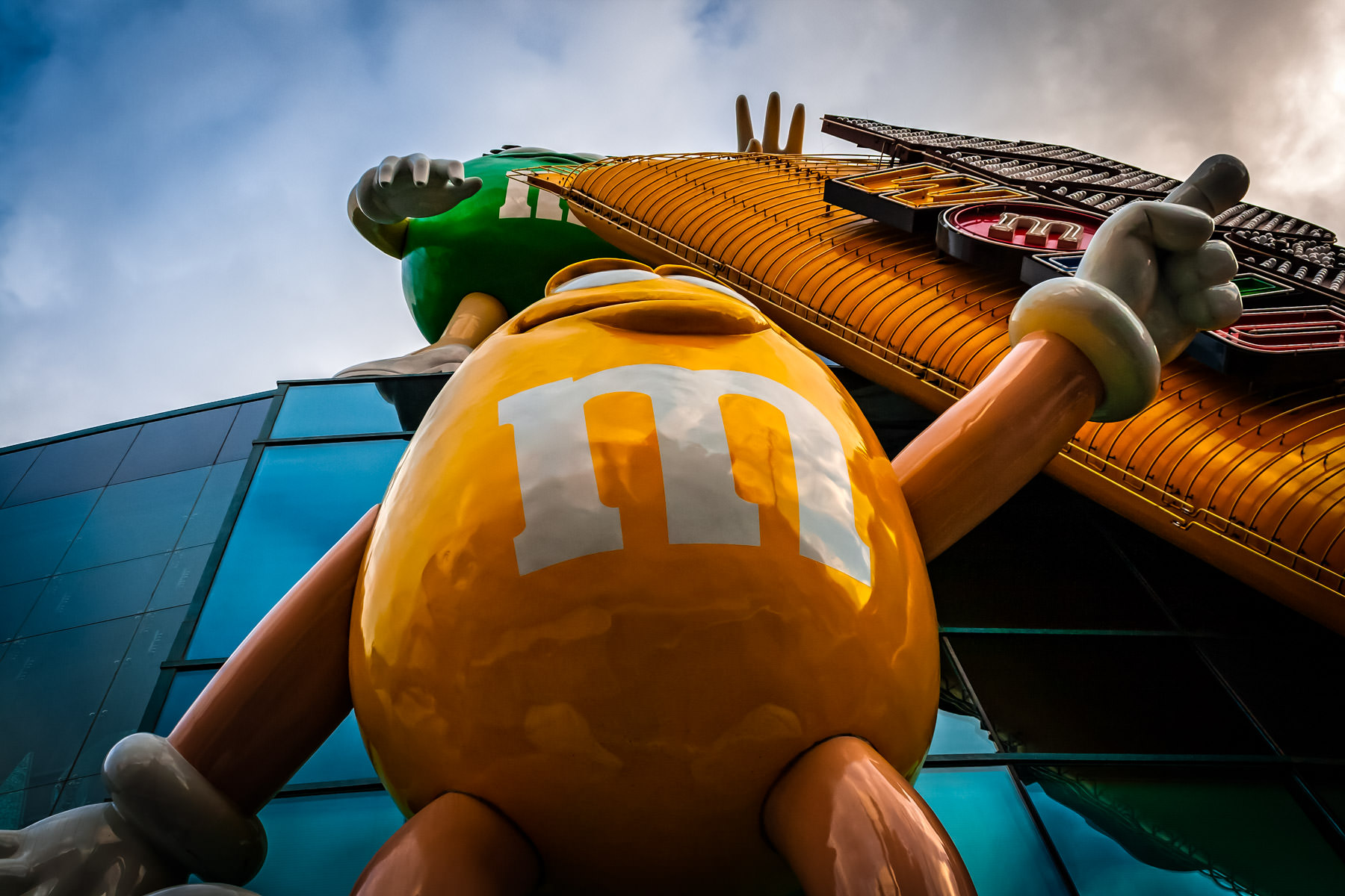 A fibreglass anthropomorphic M&M candy-shaped sign at M&M's World, Las Vegas.