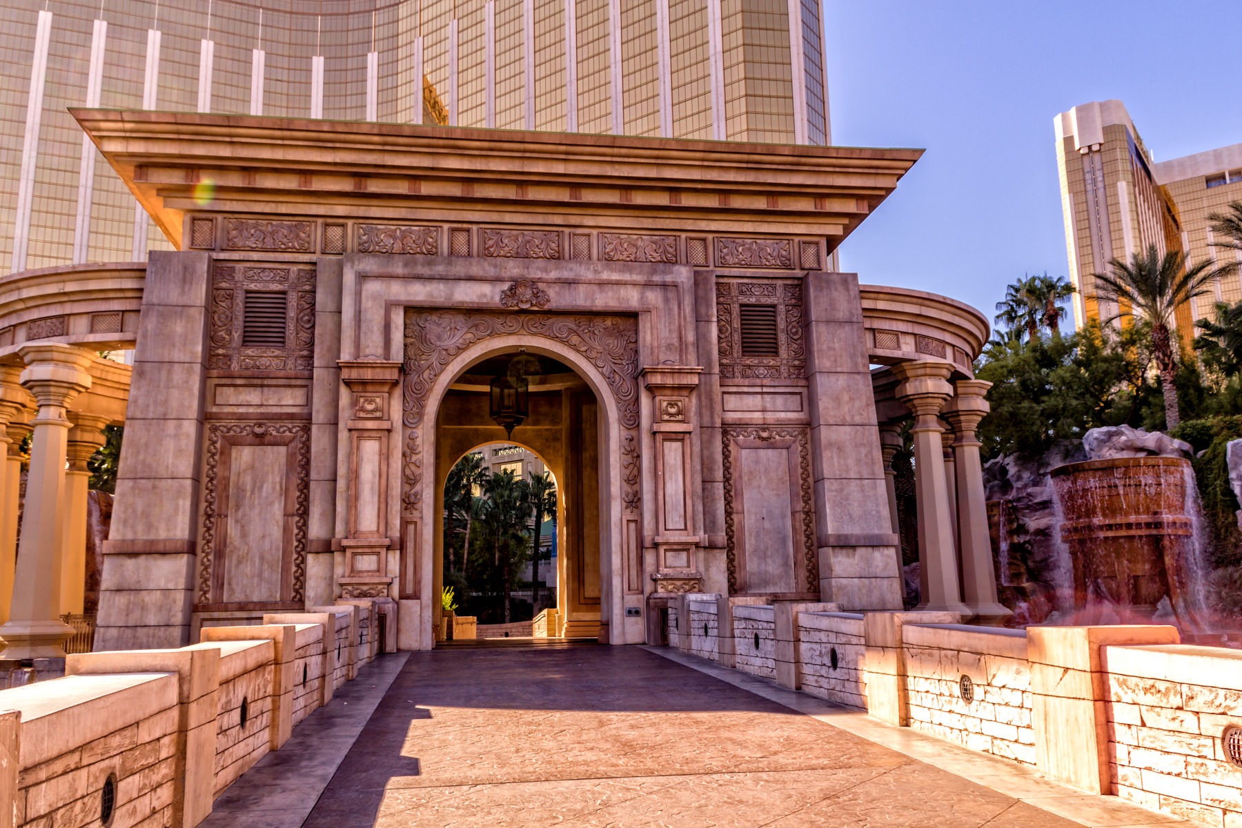 One of the ornate entrances to the Mandalay Bay Hotel & Casino, Las Vegas.