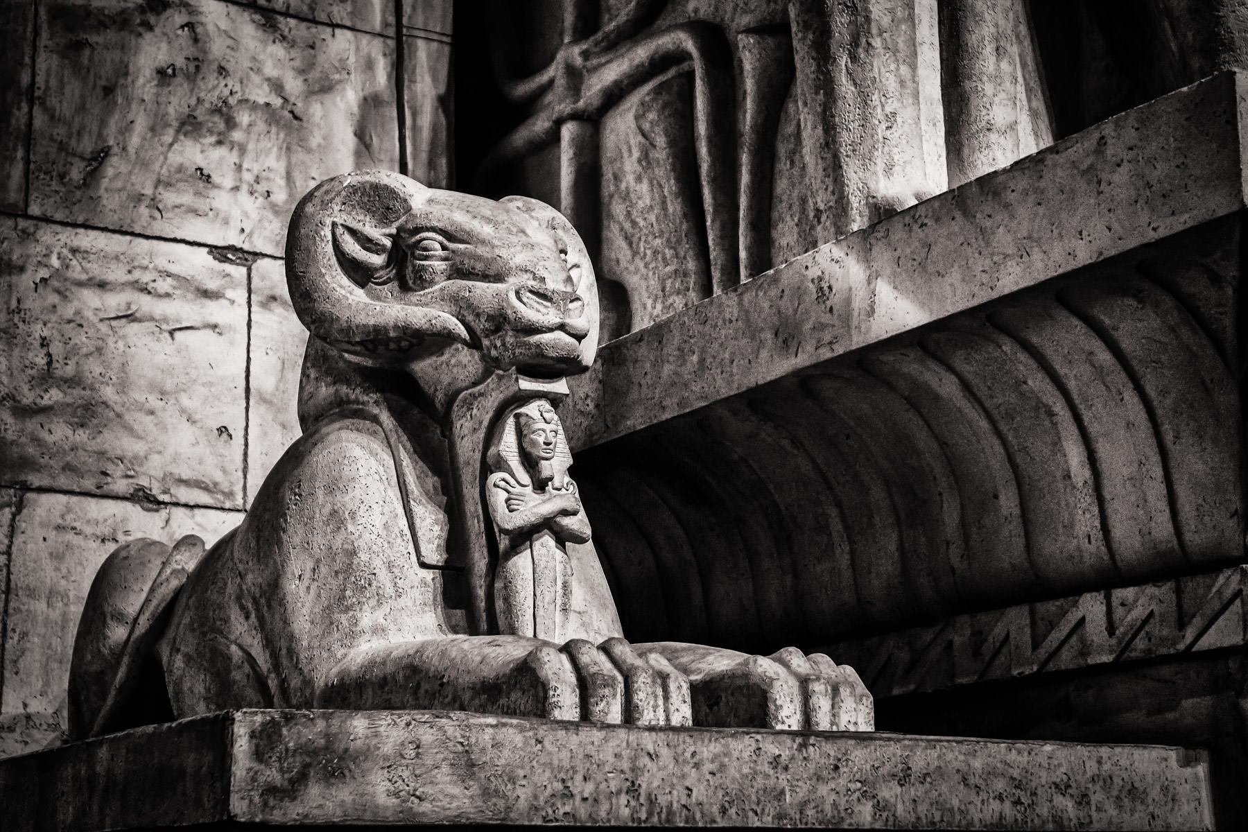 An Egyptian statue of a ram at Las Vegas' Luxor.