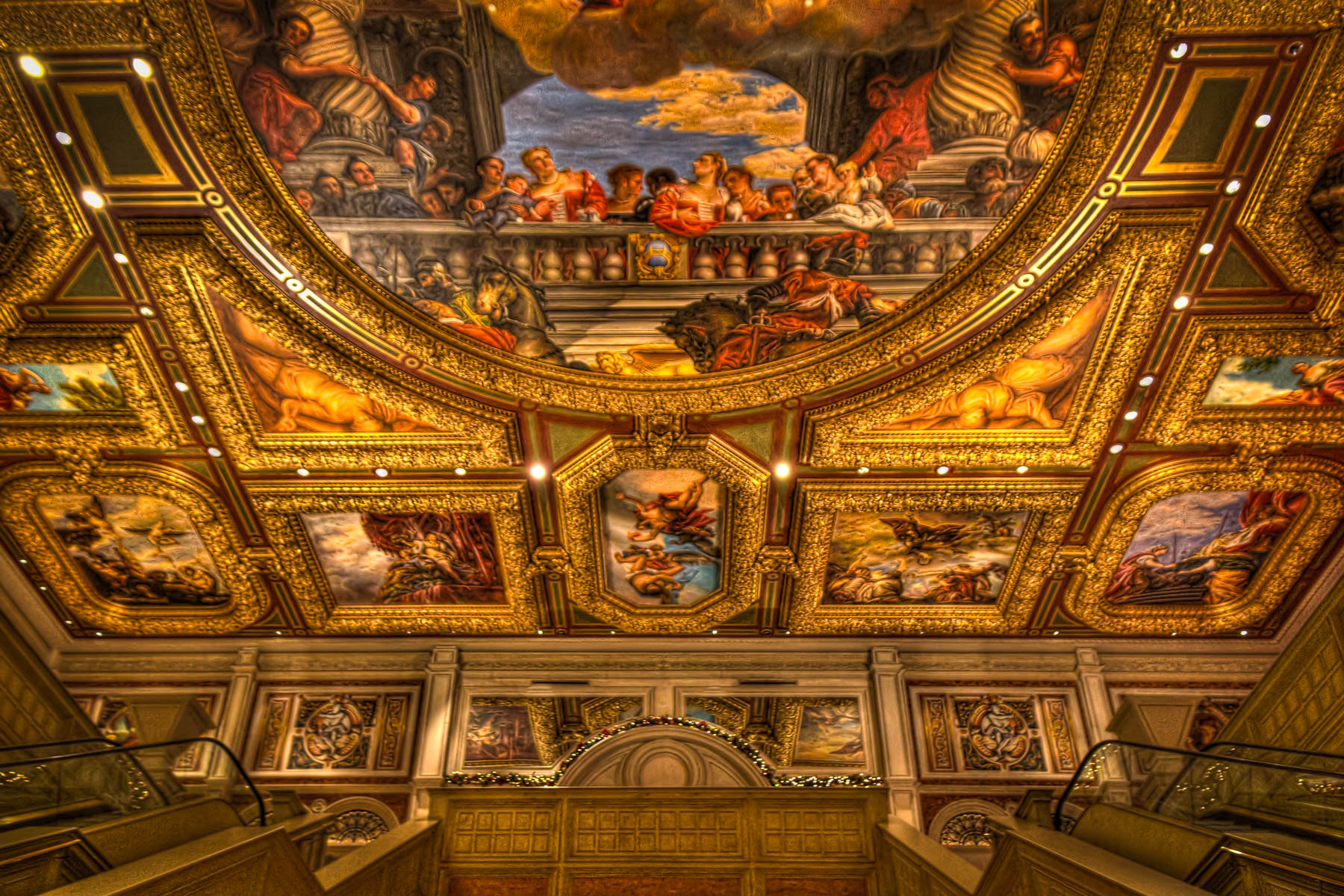 The intricately-detailed, hand-painted ceiling of the main lobby of The Venetian, Las Vegas.