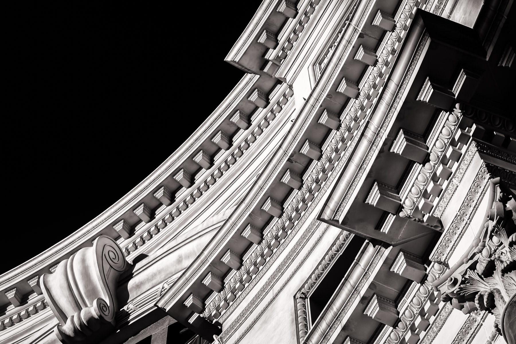 Architectural detail of the design above the main entrance of the Forum Shops at Caesars Palace, Las Vegas.