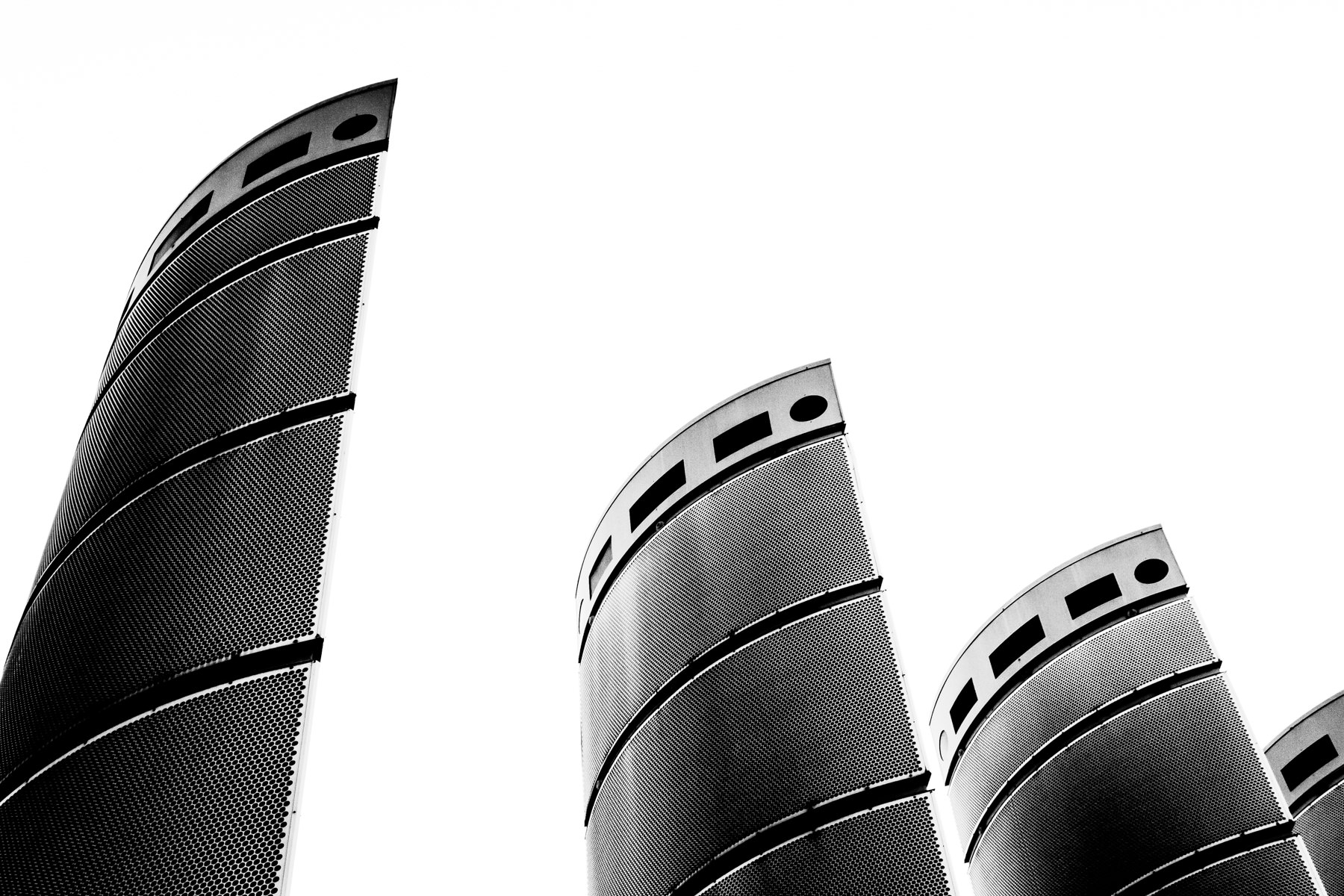 An abstract study of decorative metal towers at the entrance to Bally's Las Vegas along The Strip.