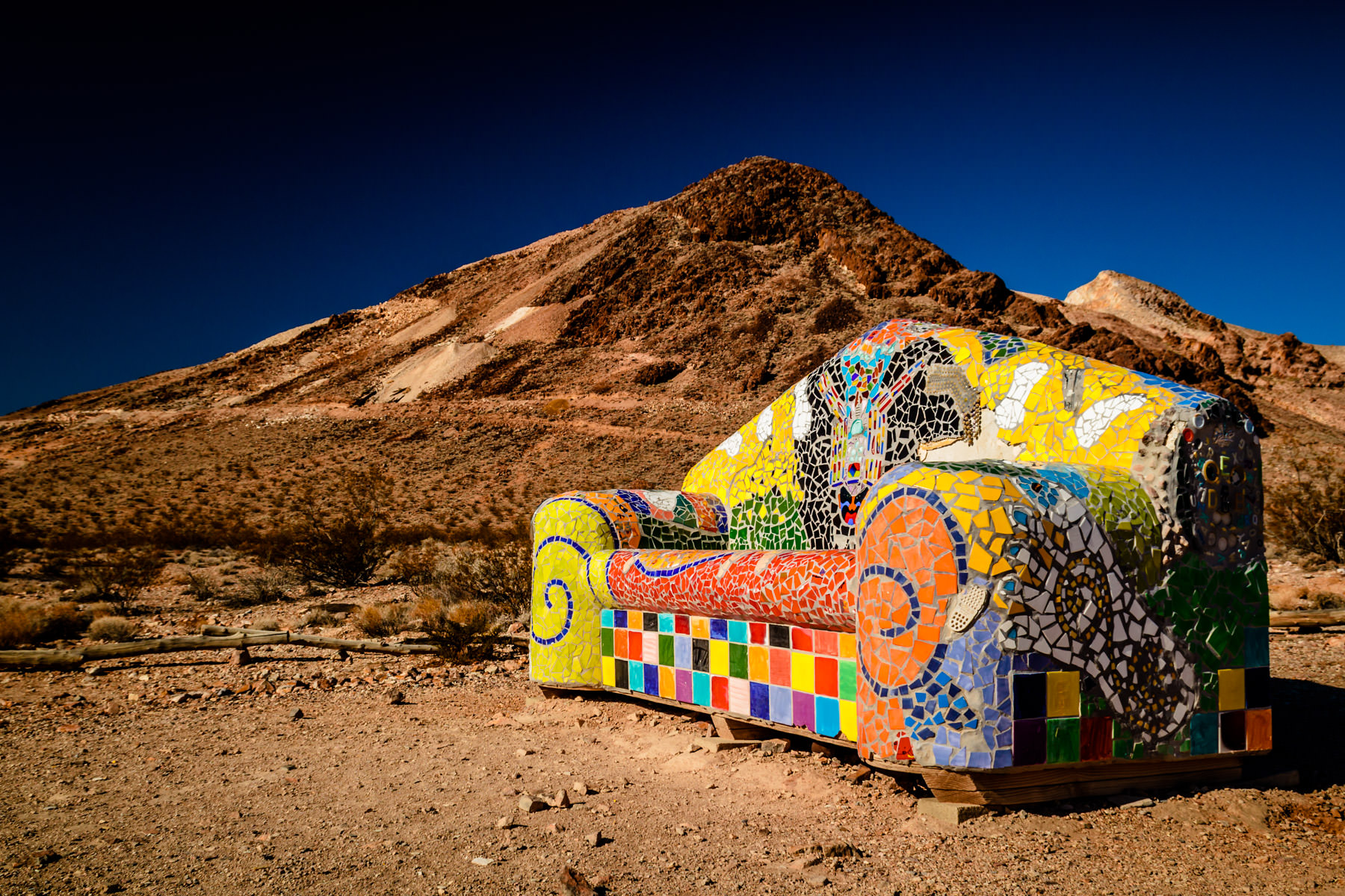 Sofie Steigmann's Sit Here! at the Goldwell Open Air Museum in the Nevada ghost town of Rhyolite.