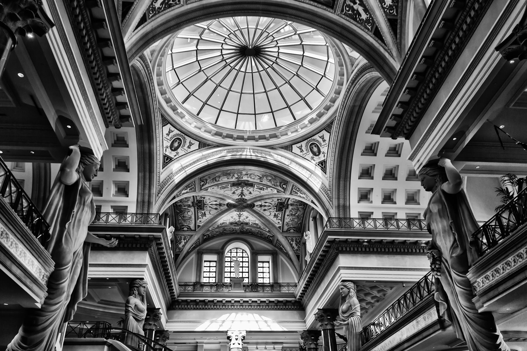 Vaulted ceilings soar high over the interior of the Forum Shops at Caesars Palace, Las Vegas.