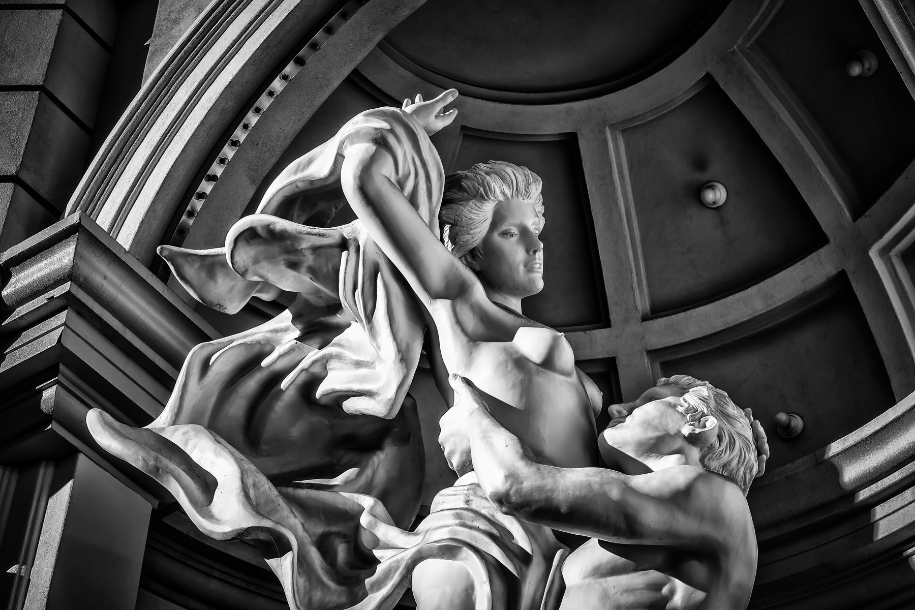 A statue depicting The Rape of the Sabine Women at Monte Carlo Casino and Hotel, Las Vegas.