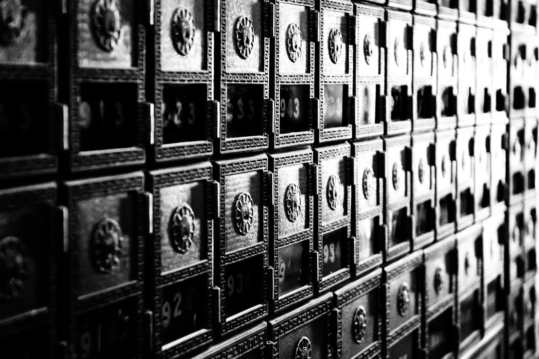 Post office boxes at Fort Worth, Texas' main post office.