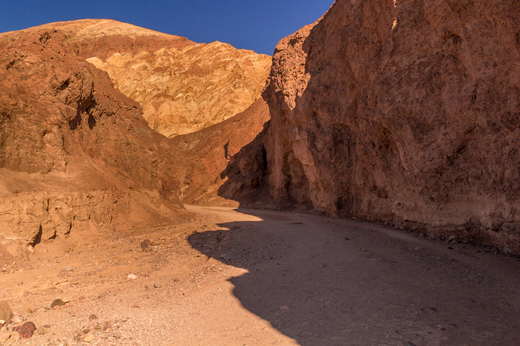 A craggy passage through a rocky crevasse at Death Valley National Park, California.