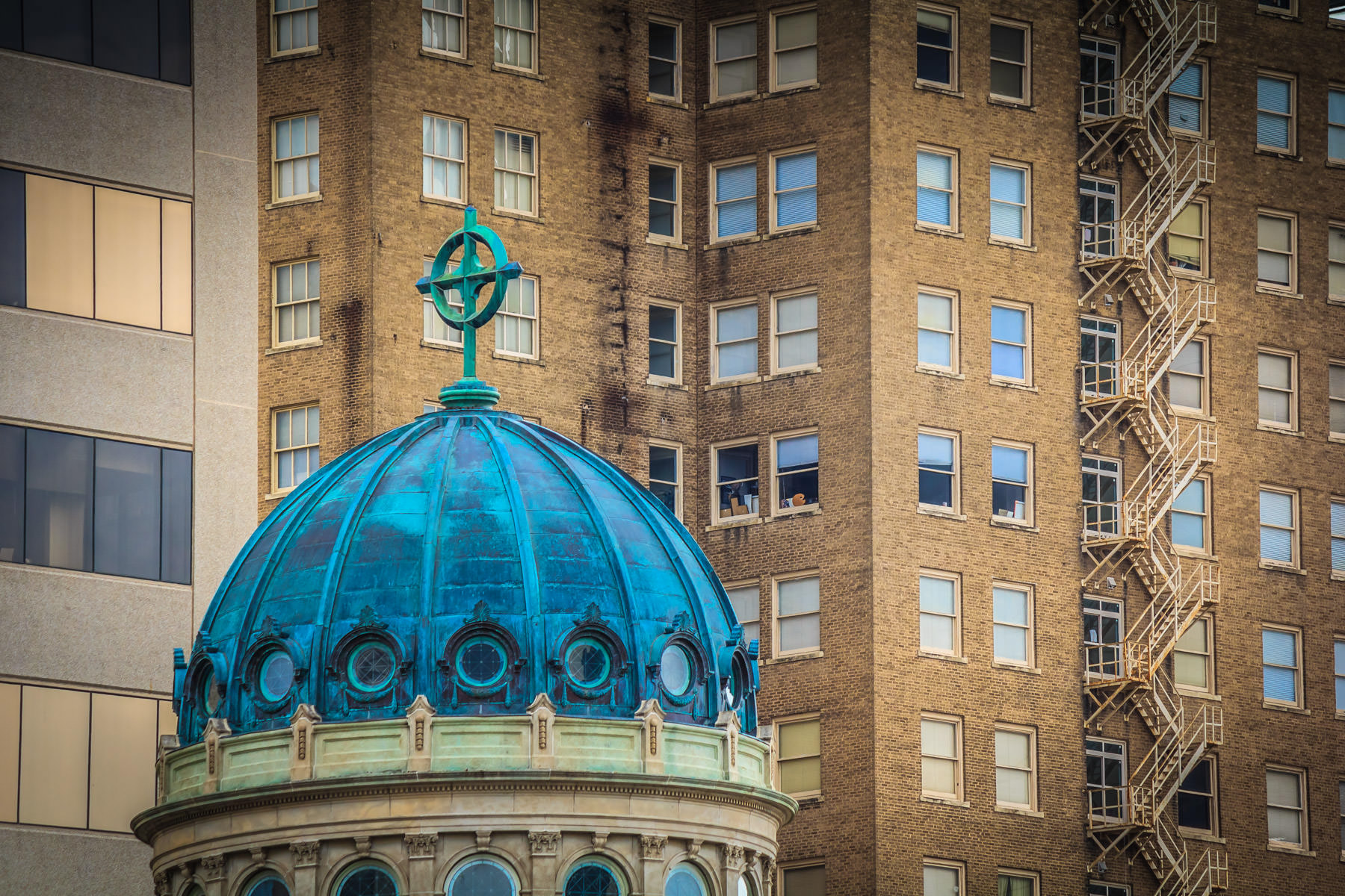 The domed steeple of the First Christian Church in Downtown Fort Worth, Texas.