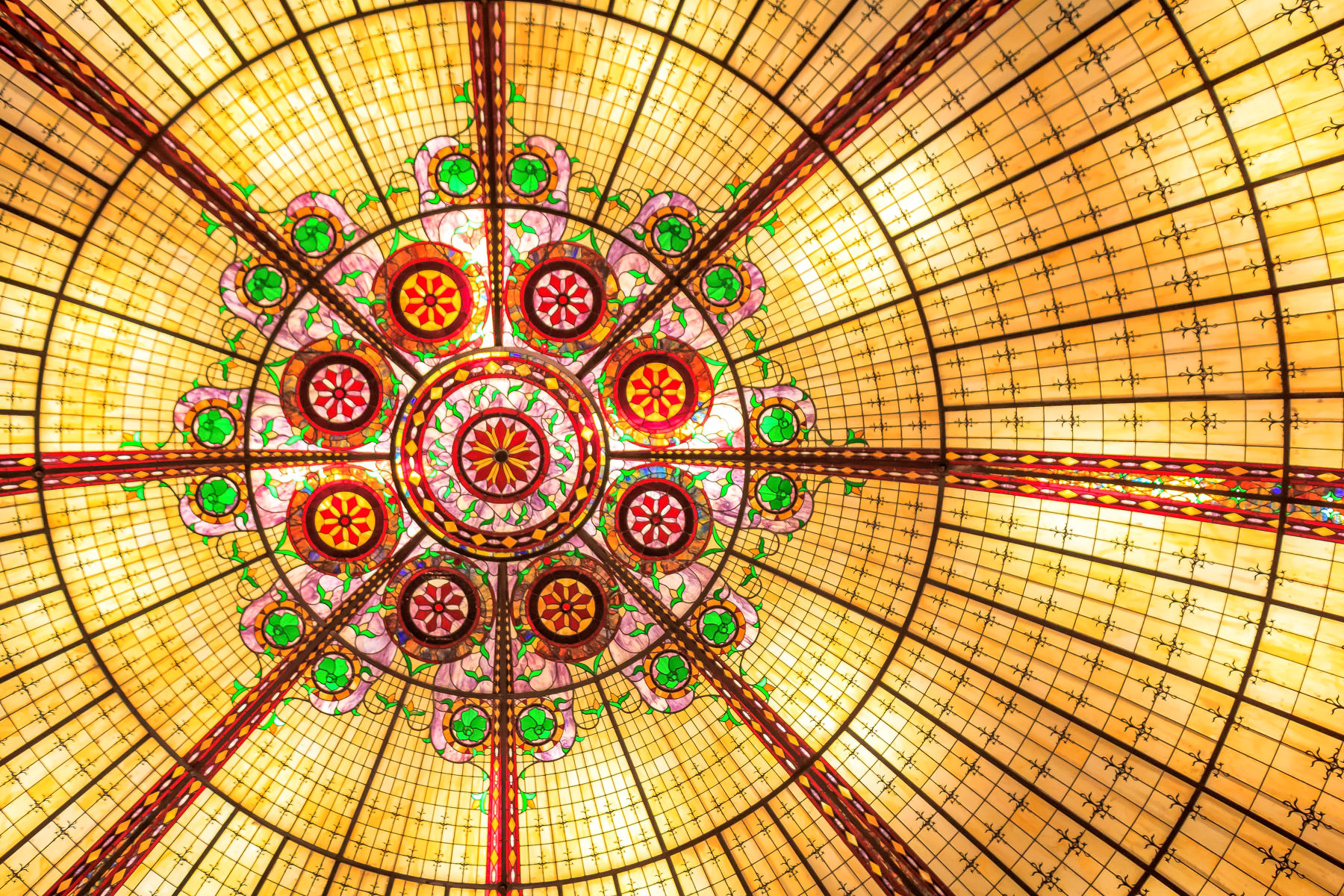 "Detail of a glass ""skylight"" inside the Paris Hotel & Casino, Las Vegas."
