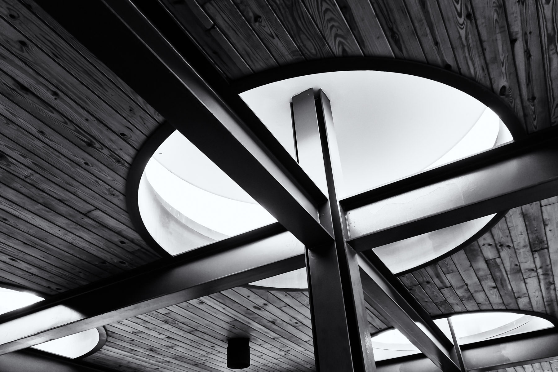 Detail of the roof of an open-air pavilion at Addison Circle Park, Addison, Texas.