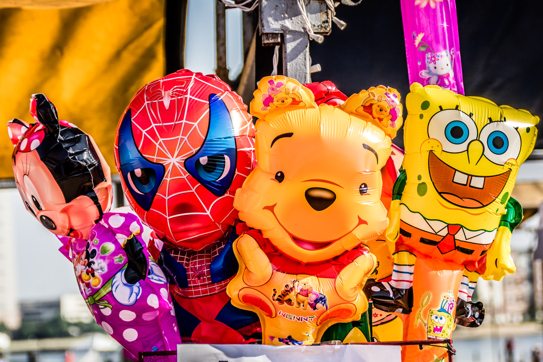 Toy balloons of cartoon characters spotted at the 2012 DFW Dragon Boat Festival, Las Colinas, Texas.