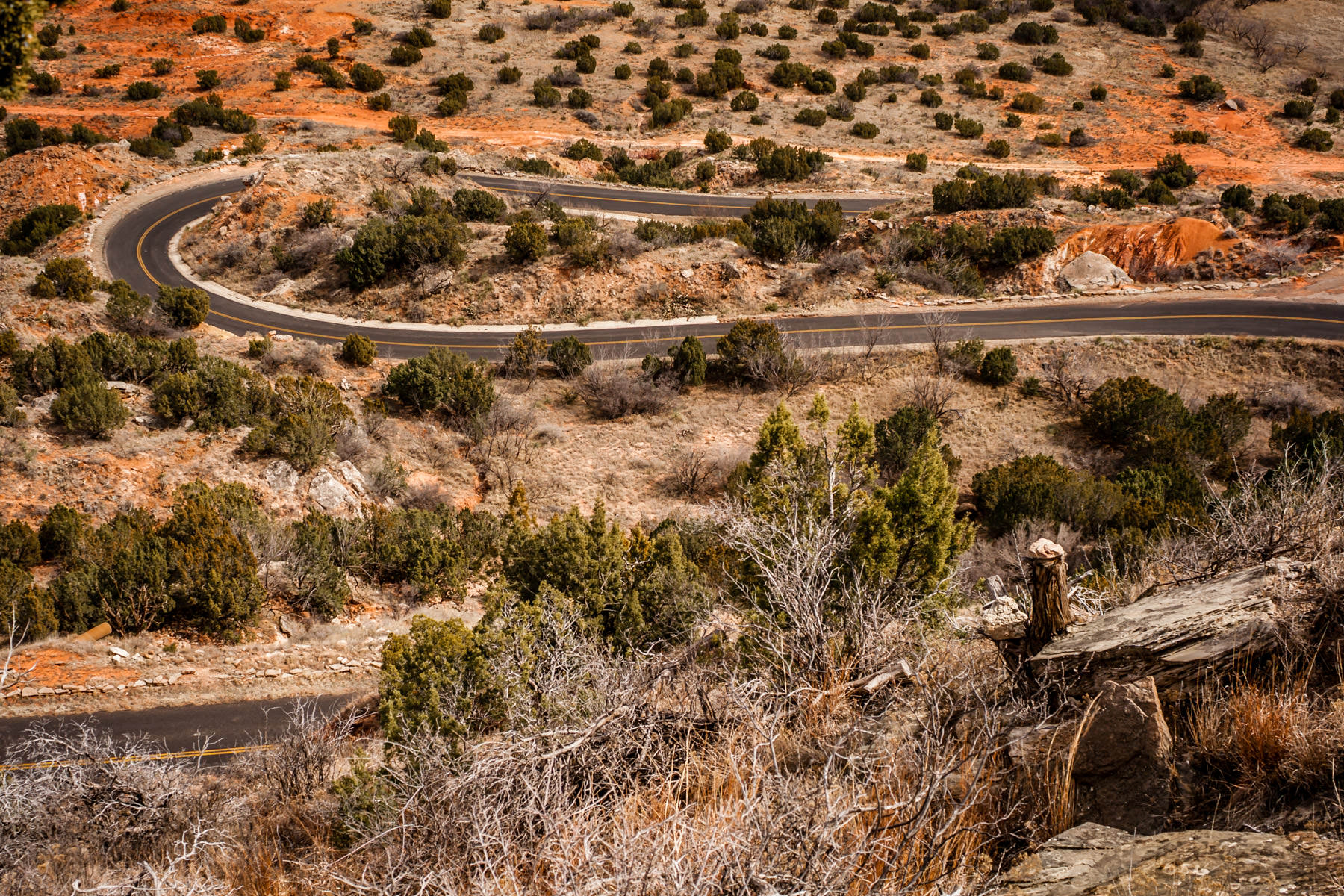 A winding road at Palo Duro Canyon State Park, Texas.