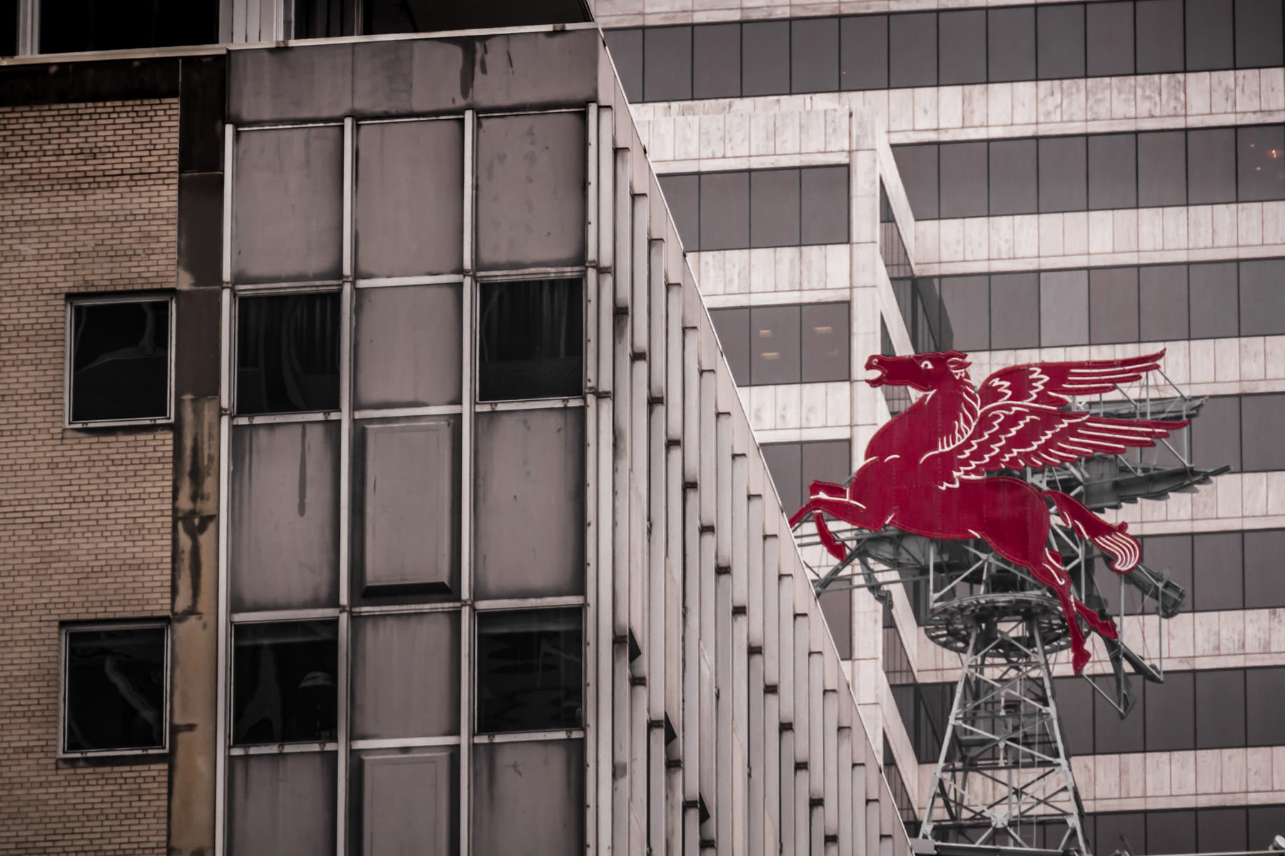 This neon Pegasus sign, atop Dallas' Magnolia Hotel, was originally installed when the building was the headquarters of Magnolia Petroleum (later Mobil Oil).  It was reconstructed in 2000 and has become a symbol of the city.