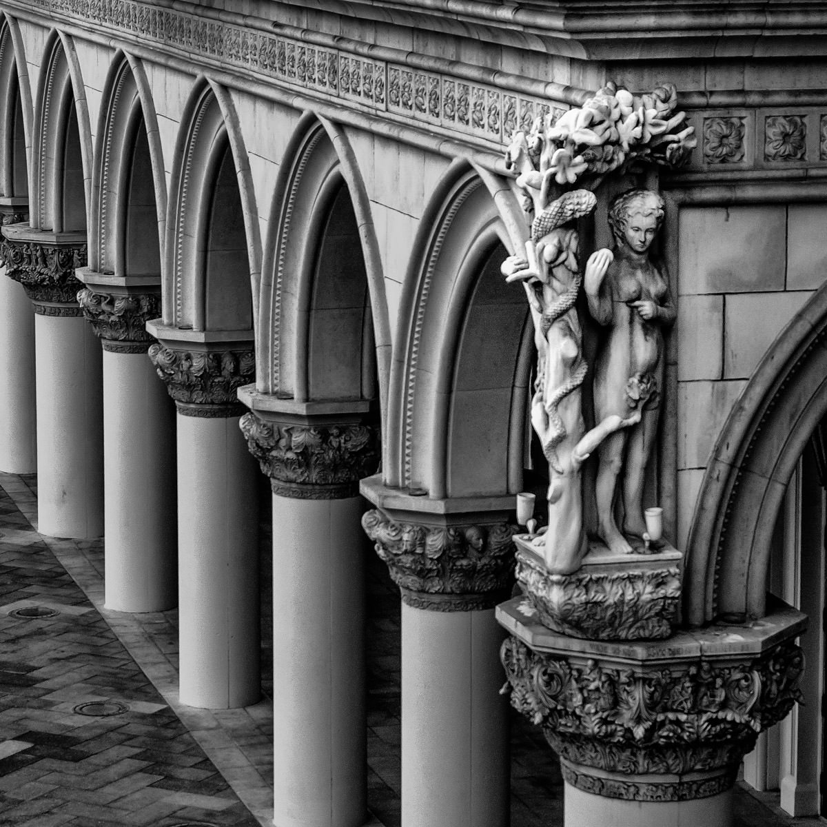 Statues and columns on the exterior of The Venetian, Las Vegas.