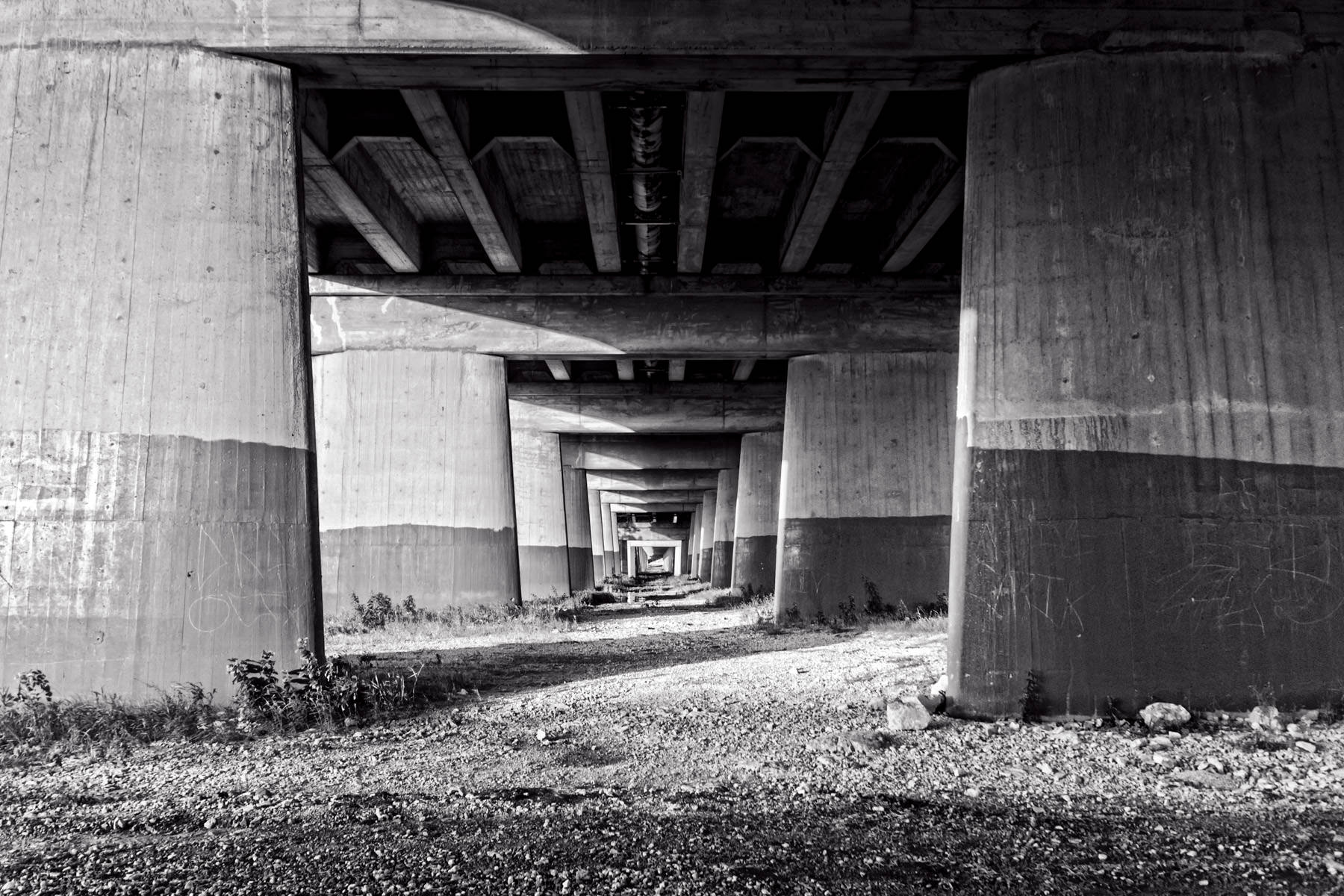 Underneath the Commerce Street Viaduct, Dallas.