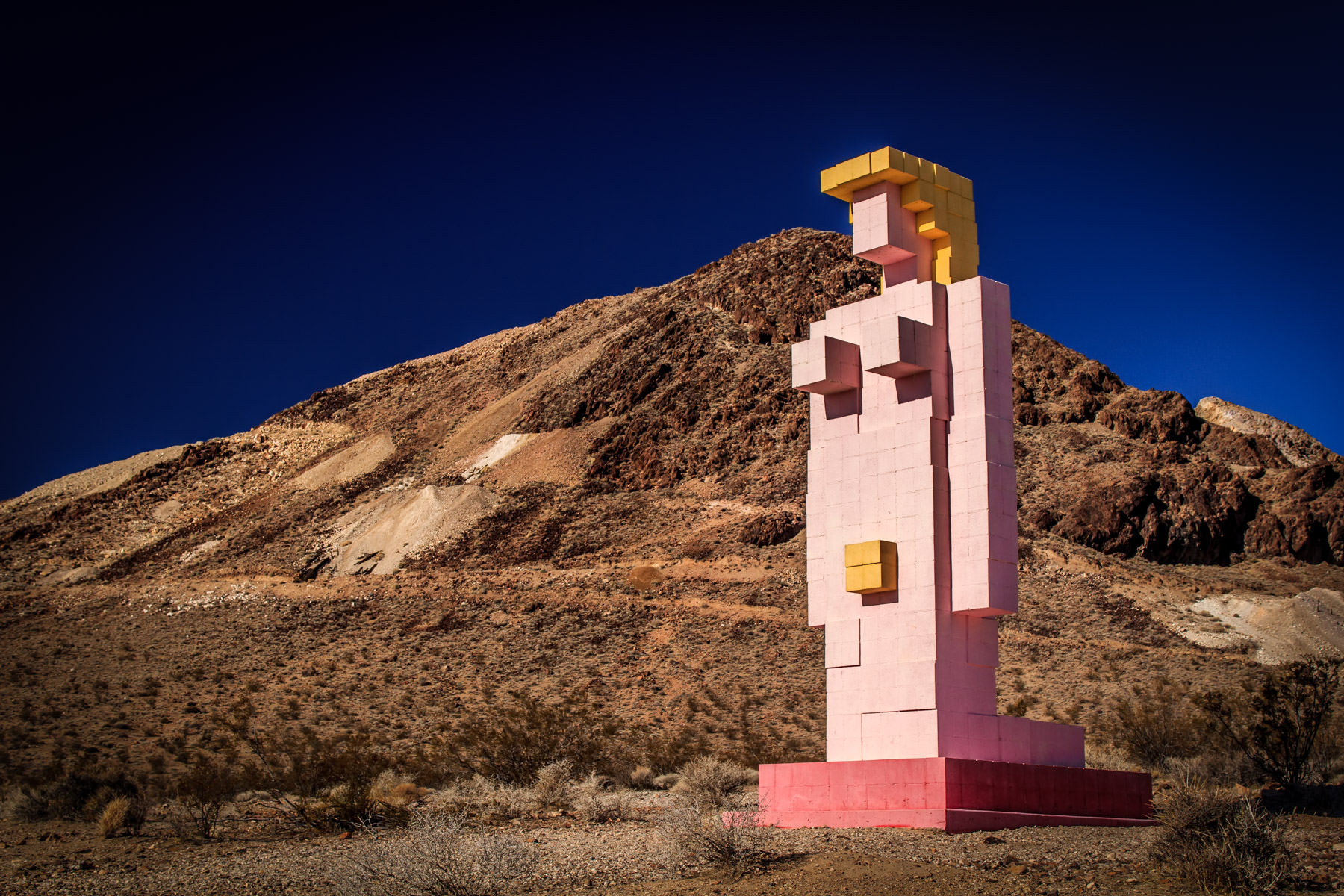 "Hugo Heyrman's ""Lady Desert: The Venus of Nevada"" rises into the sky at the Goldwell Open Air Museum, Rhyolite, Nevada."