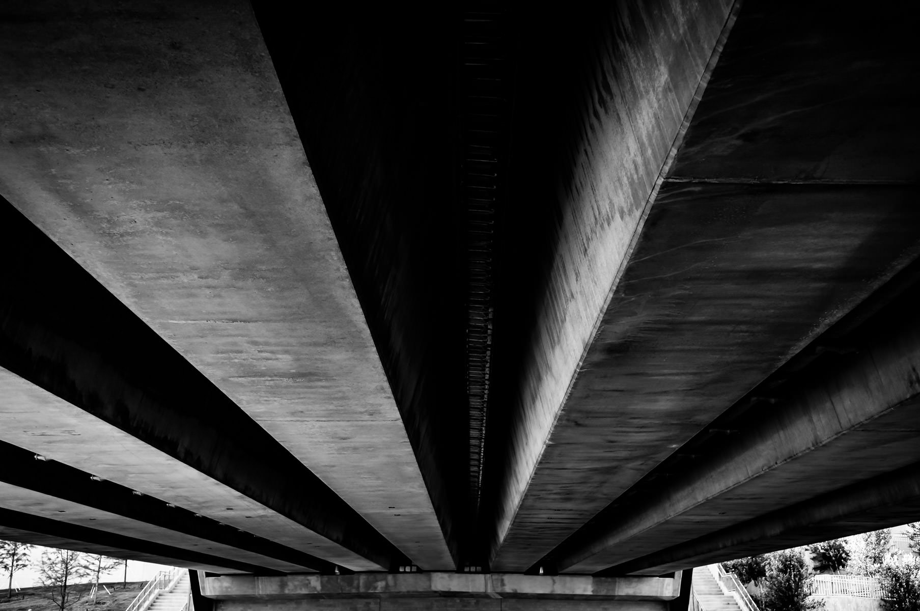 Underneath a bridge at Addison, Texas' Vitruvian Park.