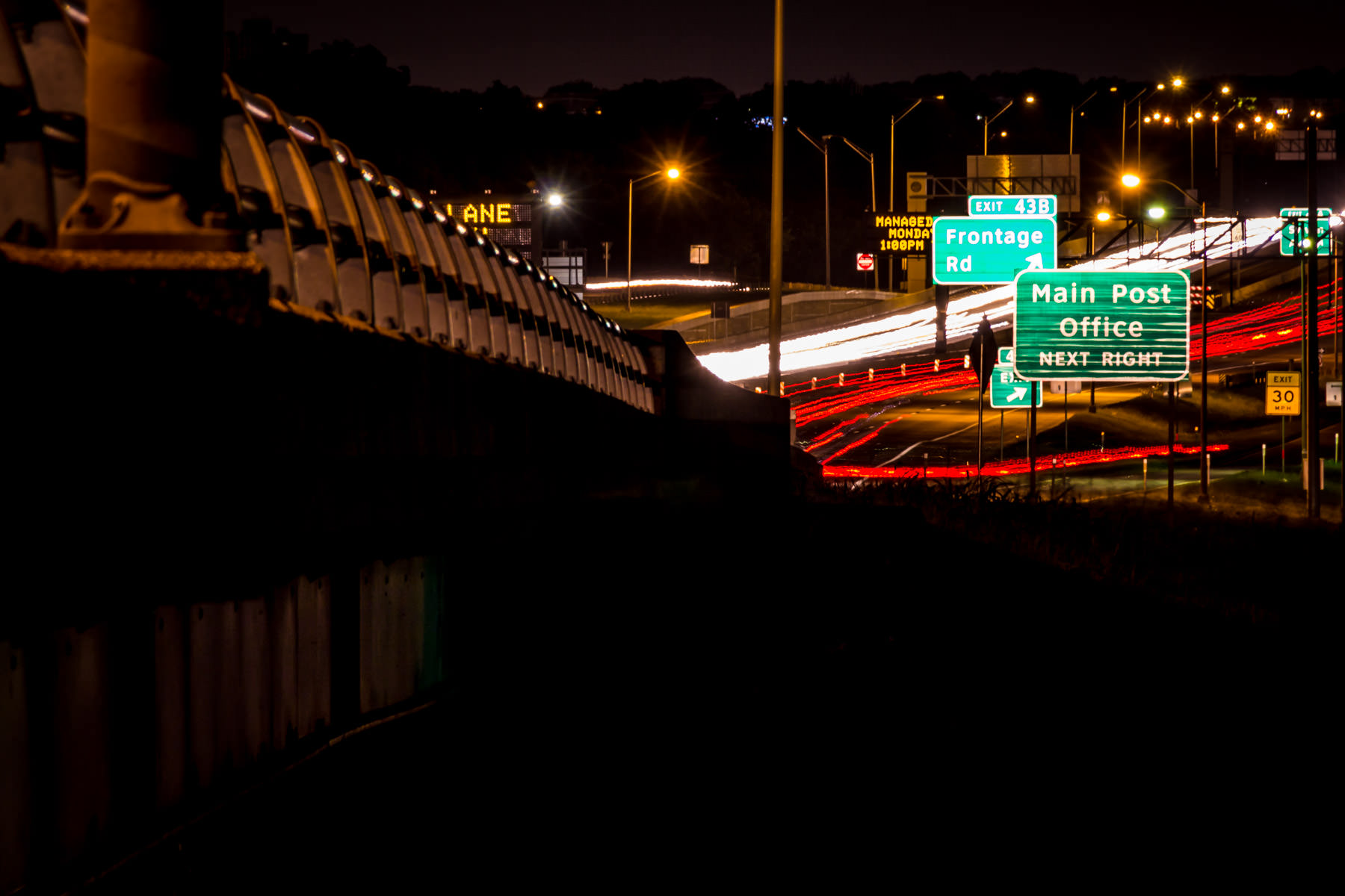 A long exposure shot along the Interstate 30 Viaduct near the Trinity River in Dallas.