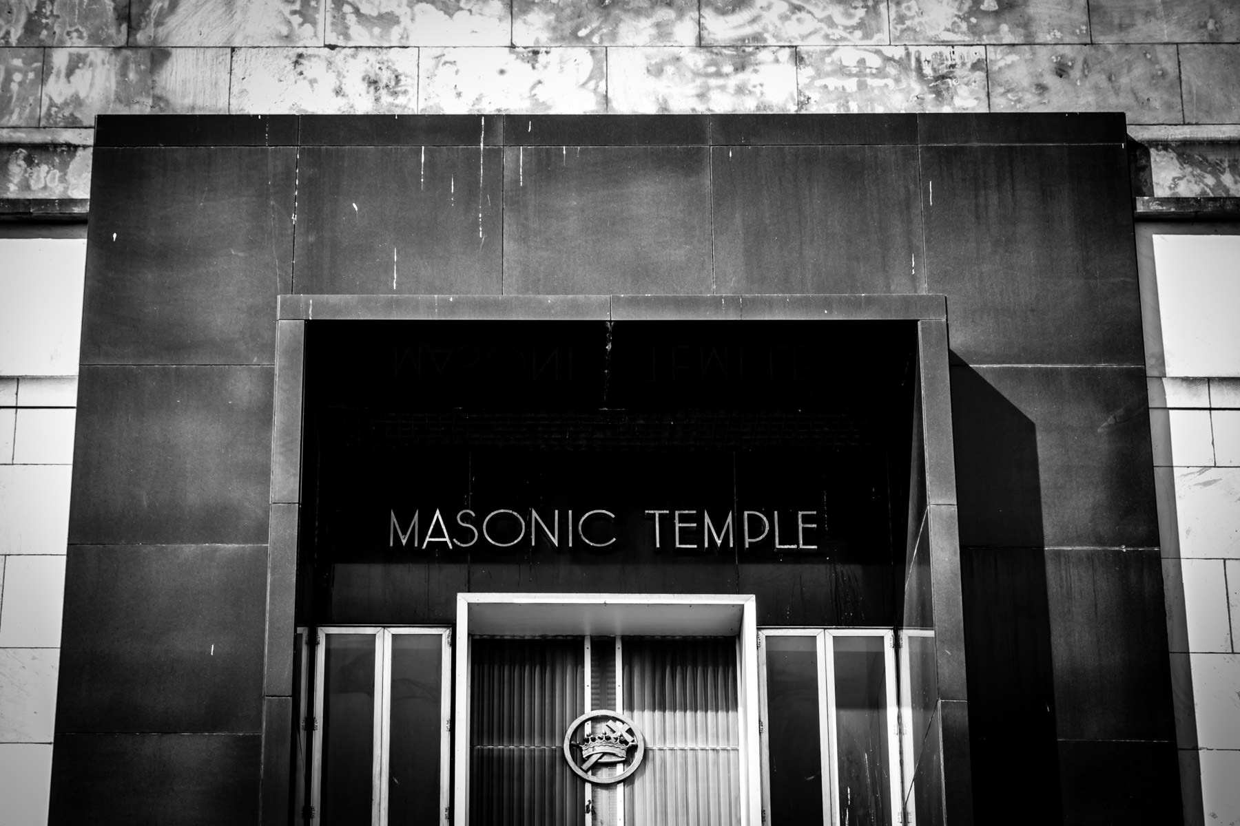 Architectural detail of the Dallas Masonic Temple.