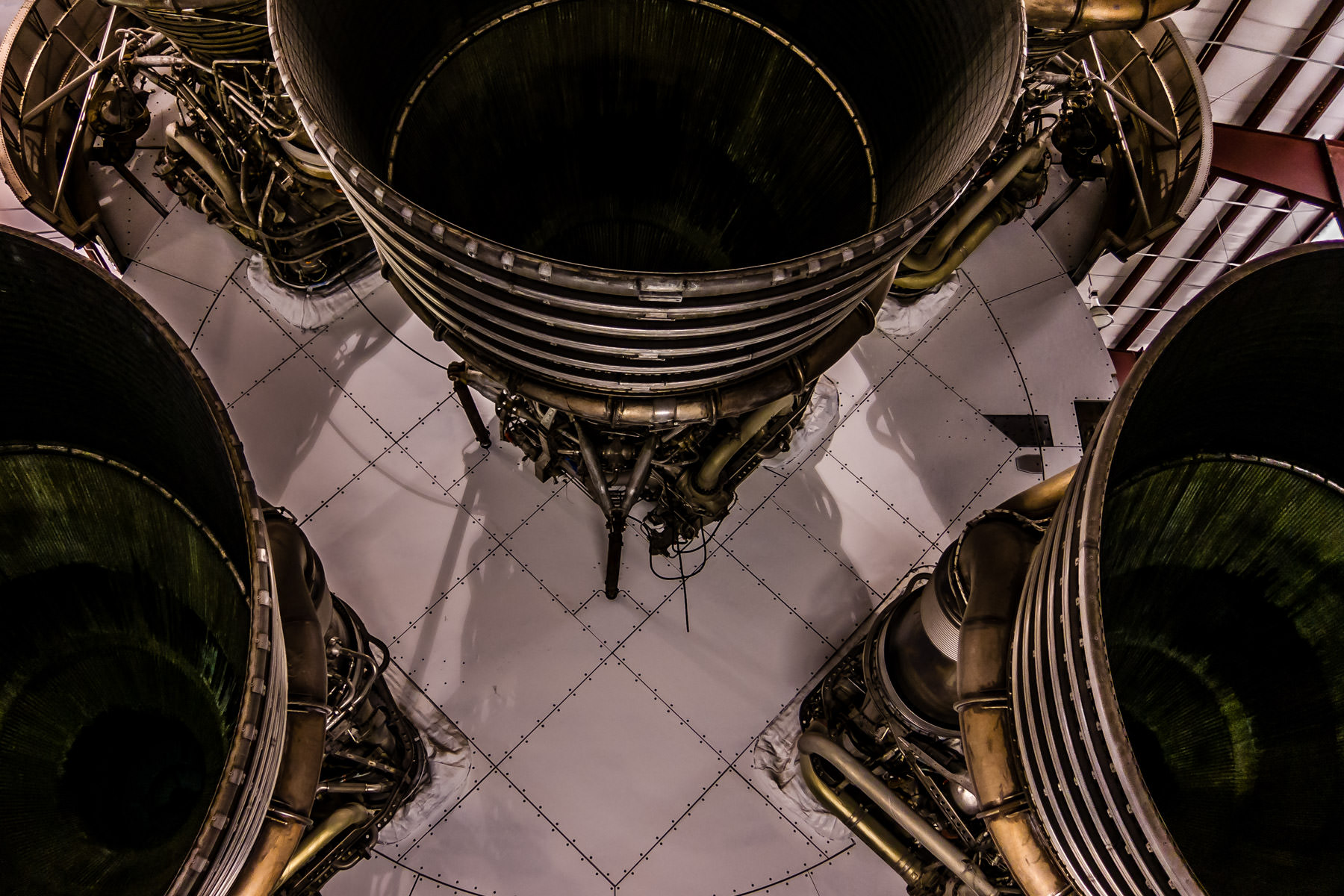 Detail of rocket engines on a Saturn V rocket at NASA's Johnson Space Center, Houston.