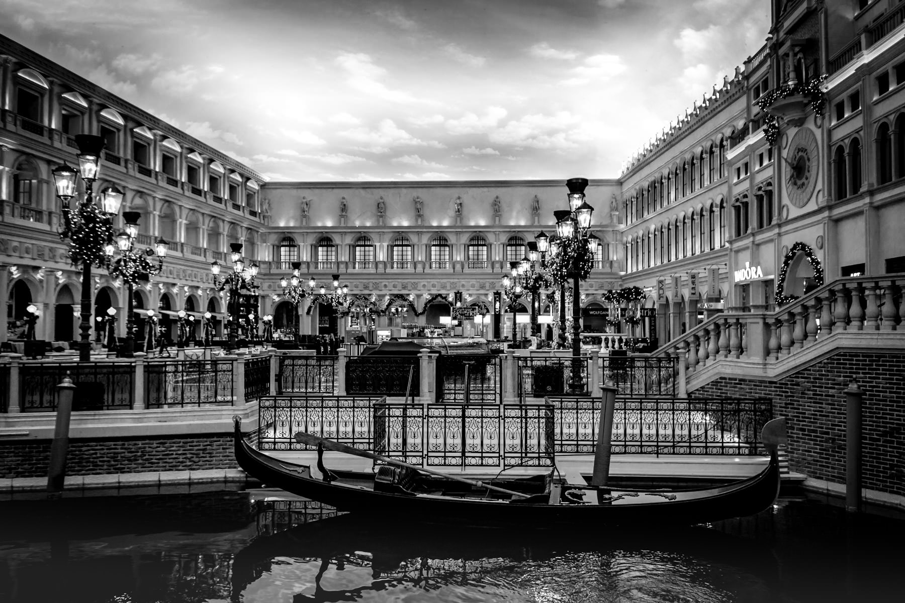A gondola floats in a canal inside the Grand Canal Shoppes at The Venetian, Las Vegas.