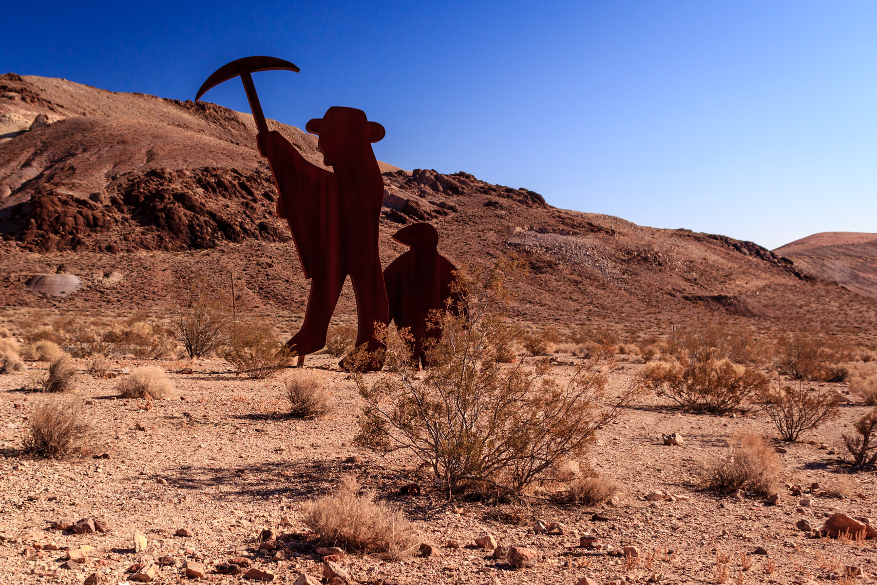 A sculpture at the Goldwell Open Air Museum in the Nevada ghost town of Rhyolite.