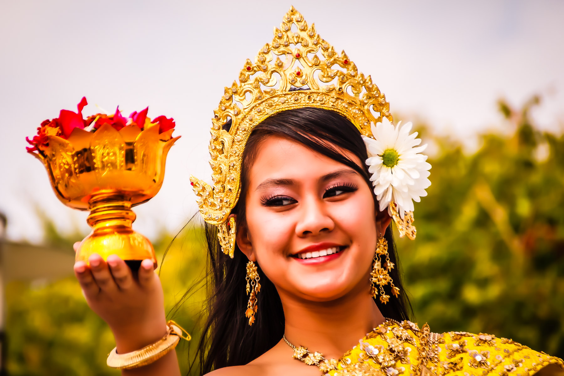 A dancer performs a traditional Cambodian luck dance (Robam chhun Por) at Addison Worldfest, Addison, Texas.