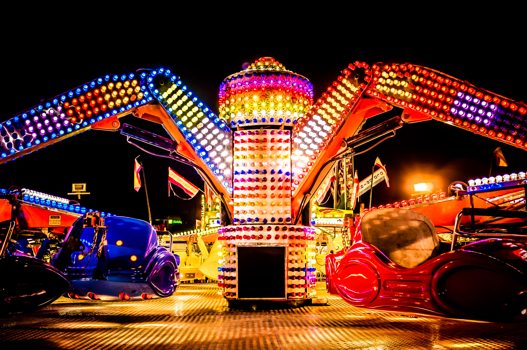 Another shot of a carnival ride at Addison Oktoberfest, Addison, Texas.