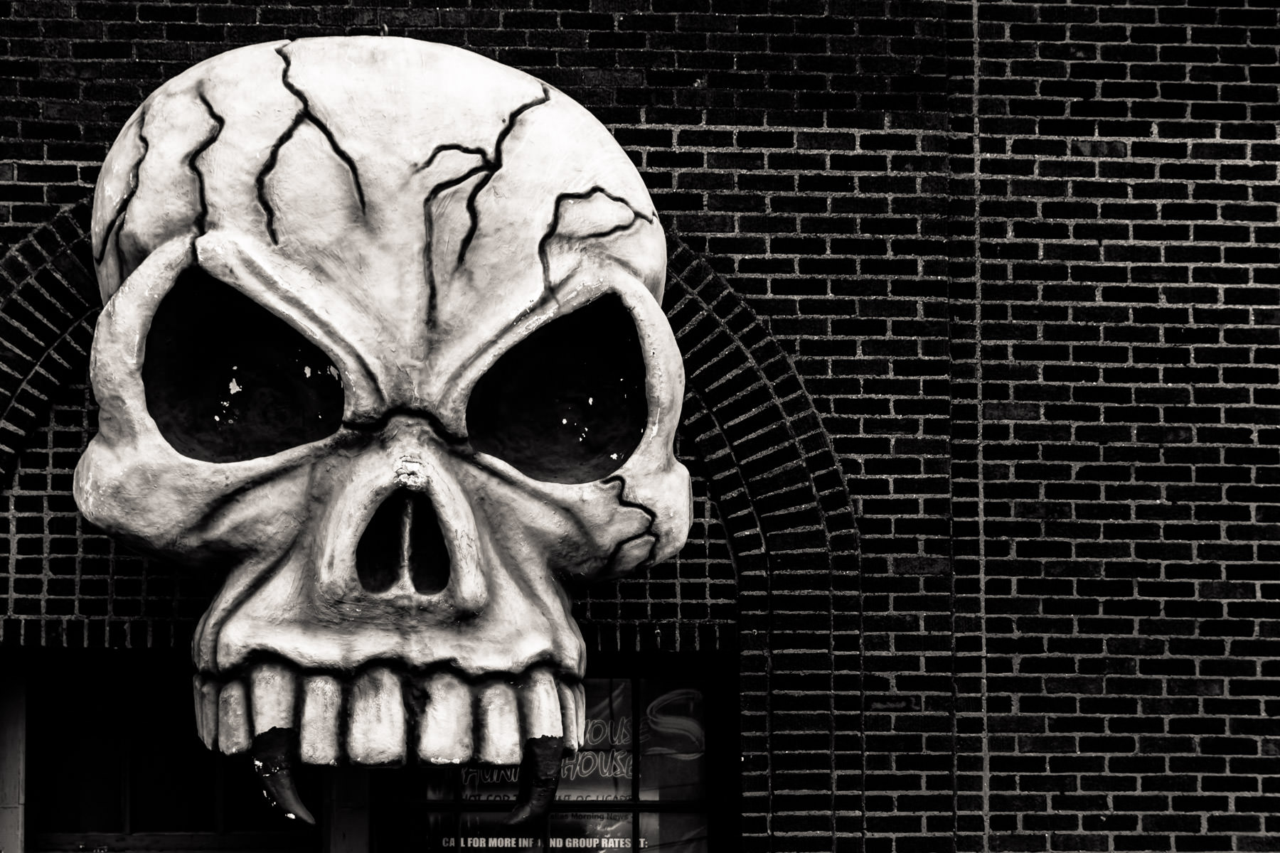 A giant, fanged skull spotted in Dallas' Deep Ellum neighborhood.