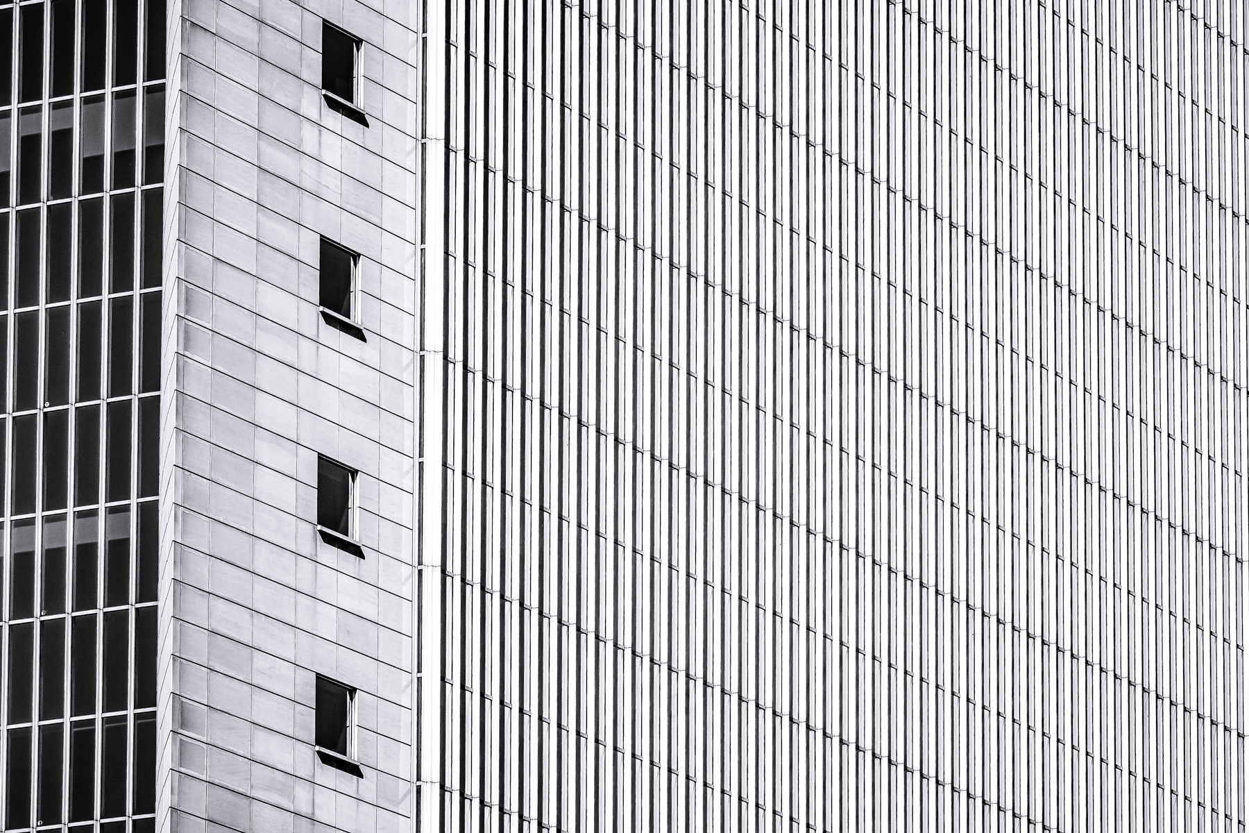 Exterior detail of the Federal Reserve Bank in Dallas.