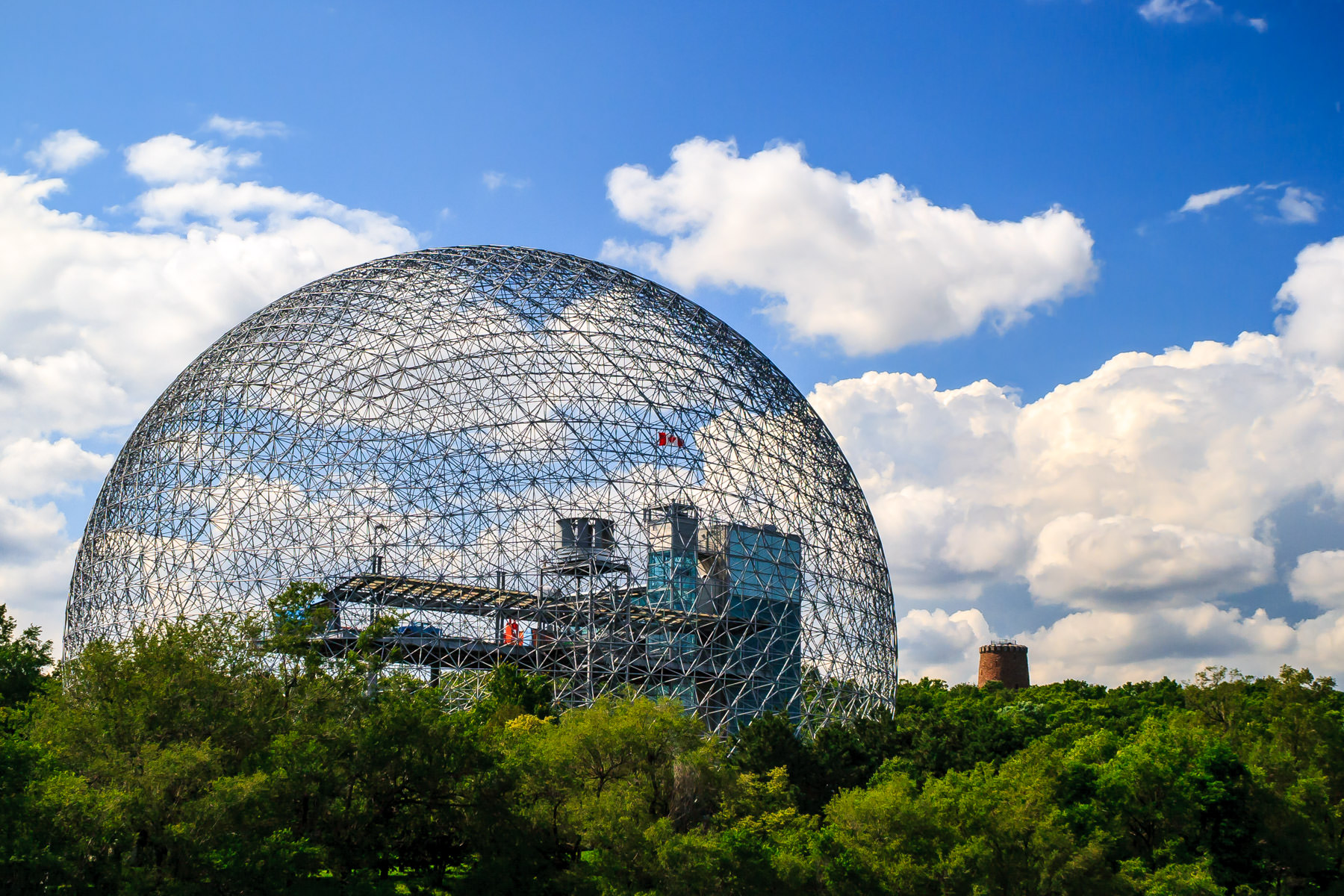 The Montréal Biosphère, originally built as the United States' pavilion at Expo 67, located in Parc Jean-Drapeau, on Île Sainte-Hélène in the Saint Lawrence River.