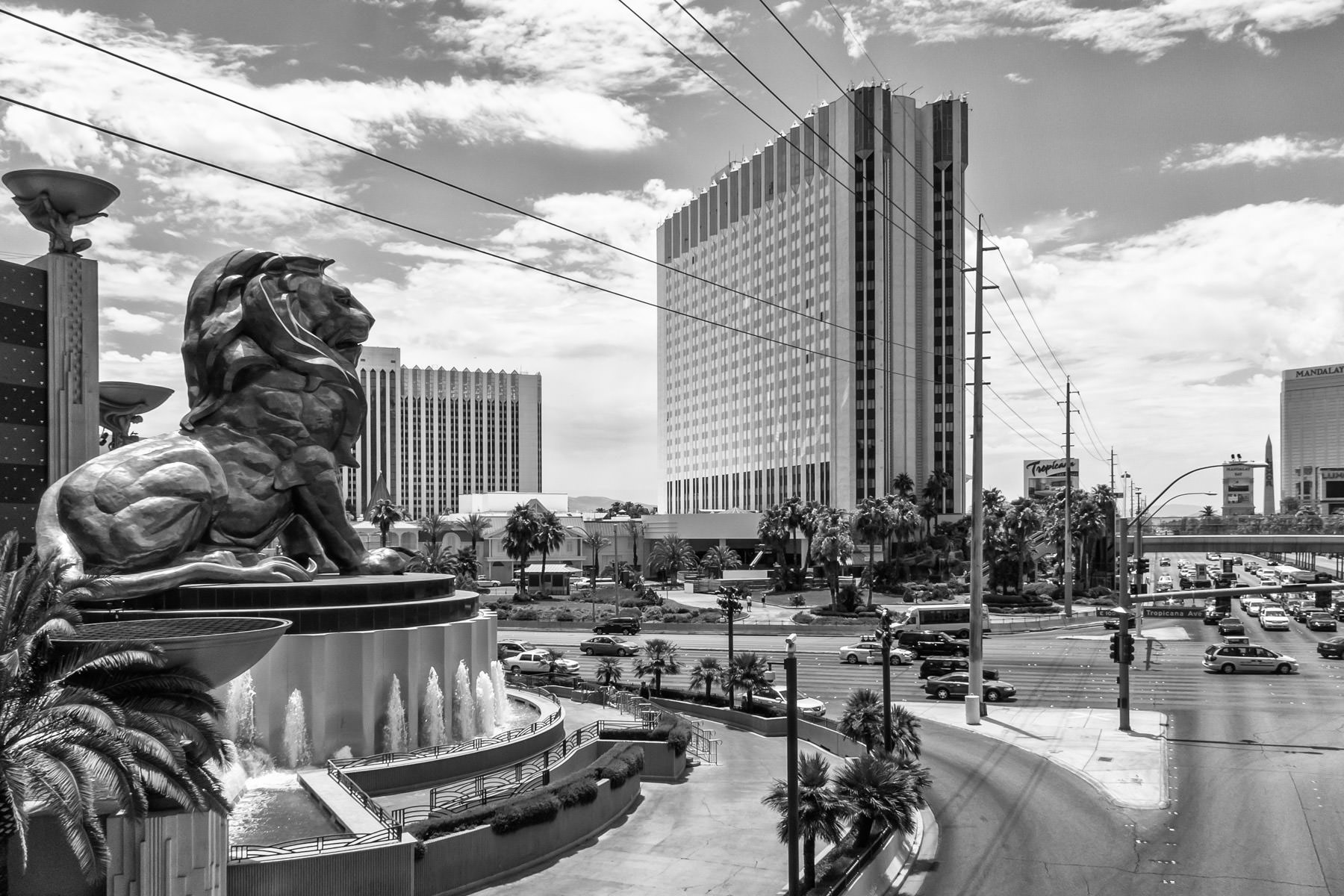 The MGM Grand's giant statue of a lion surveys the intersection of Tropicana and The Strip, Las Vegas.