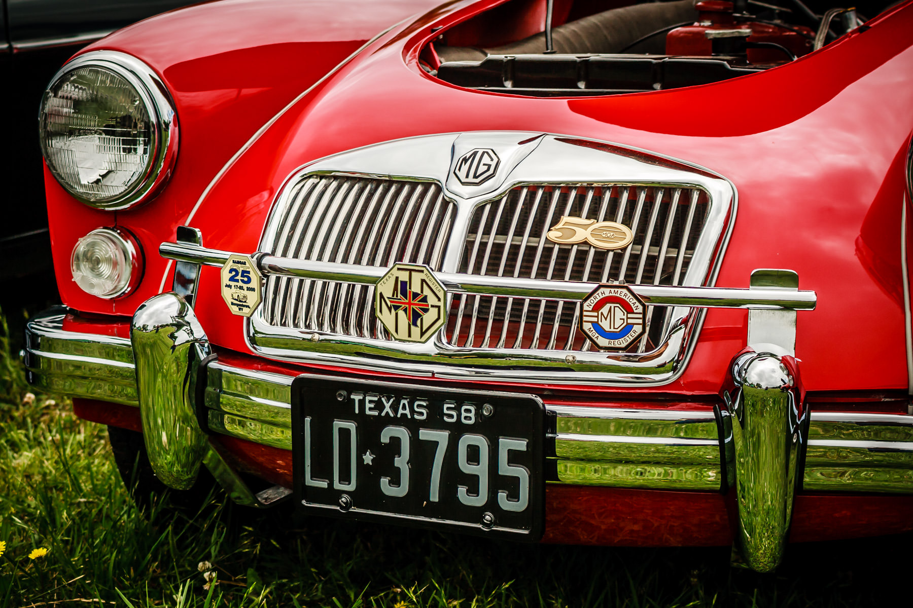 Detail of a classic MG's grill at Dallas' All British and European Car Day.