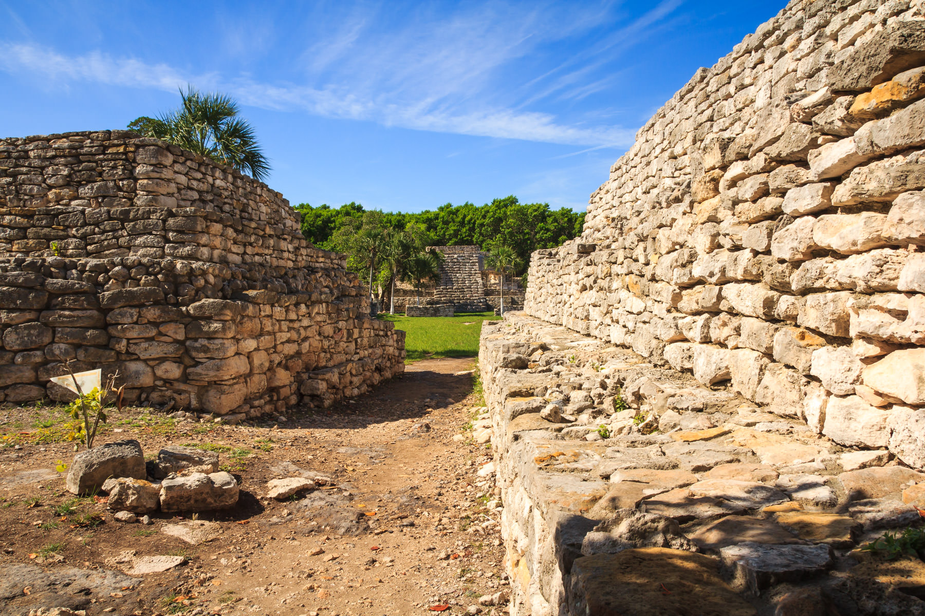 Detail of ruins at the Mayan city of Xcambo in the Mexican state of Yucatan.