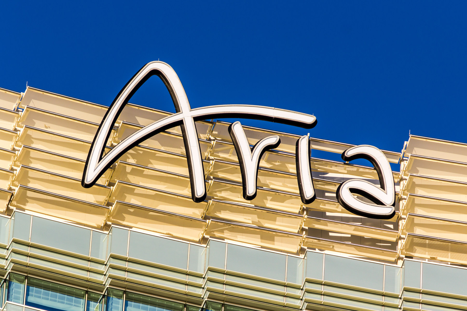 The rooftop sign of Las Vegas' Aria Hotel & Casino.