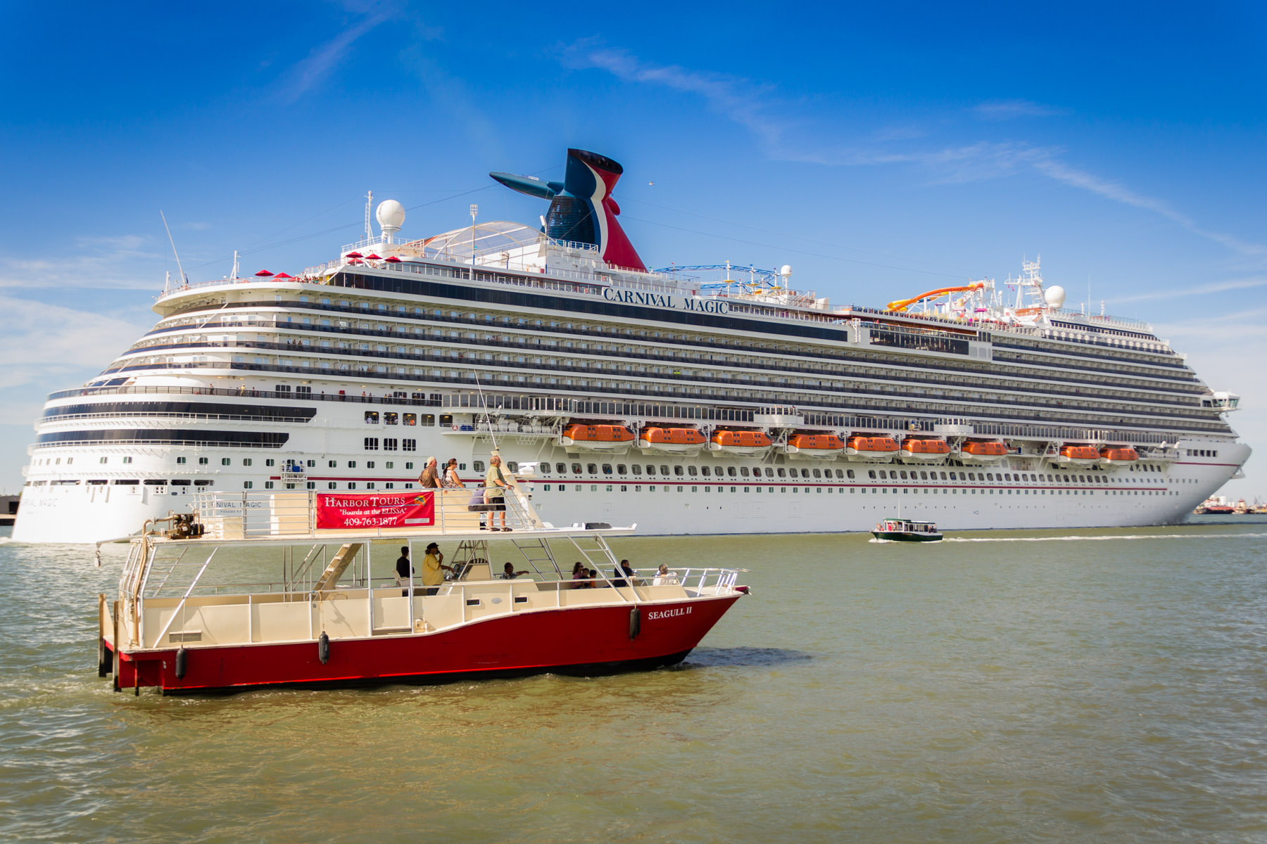 The Carnival Magic leaves the Port of Galveston, Texas.