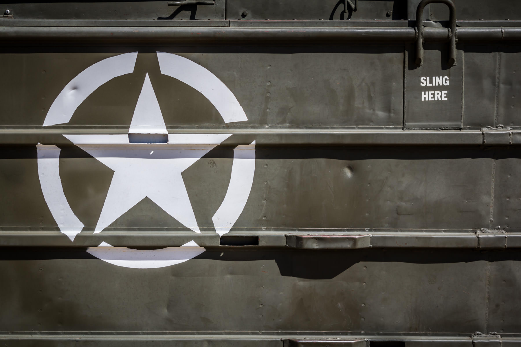 Labeling spotted on a U.S. Army DUKW amphibious vehicle at Addison, Texas' Cavanaugh Flight Museum.