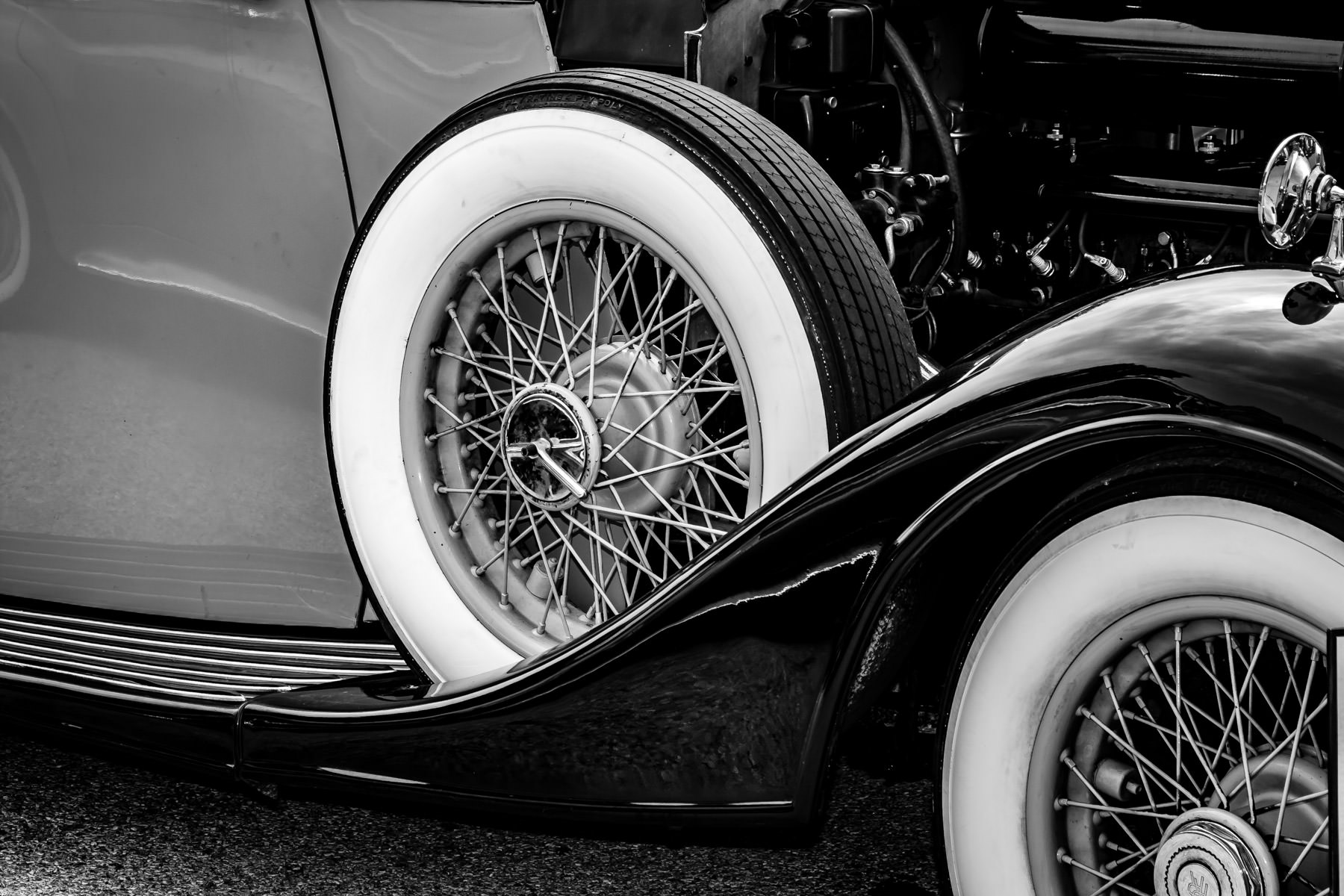 Detail of a classic car spotted at Dallas' All British and European Car Day.