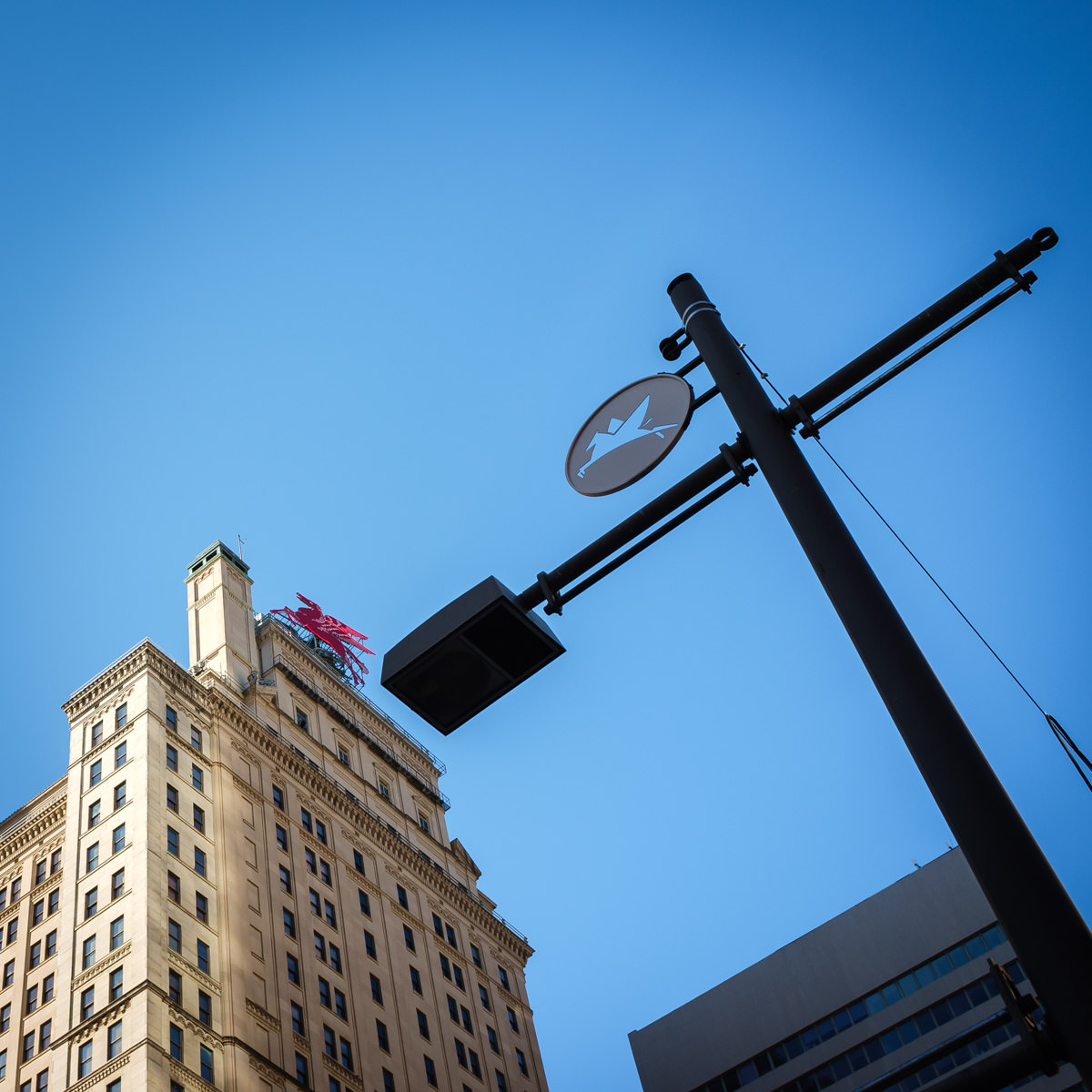 A stylized pegasus on a streetlight pole and the classic pegasus sign atop the Magnolia Hotel in Downtown Dallas.