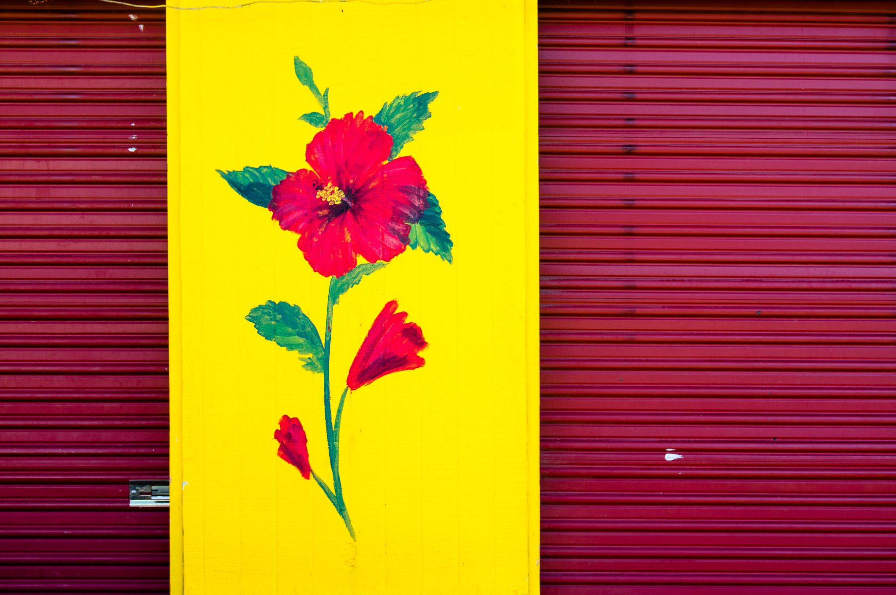 A flower painted on a door at the Dallas Farmers Market.