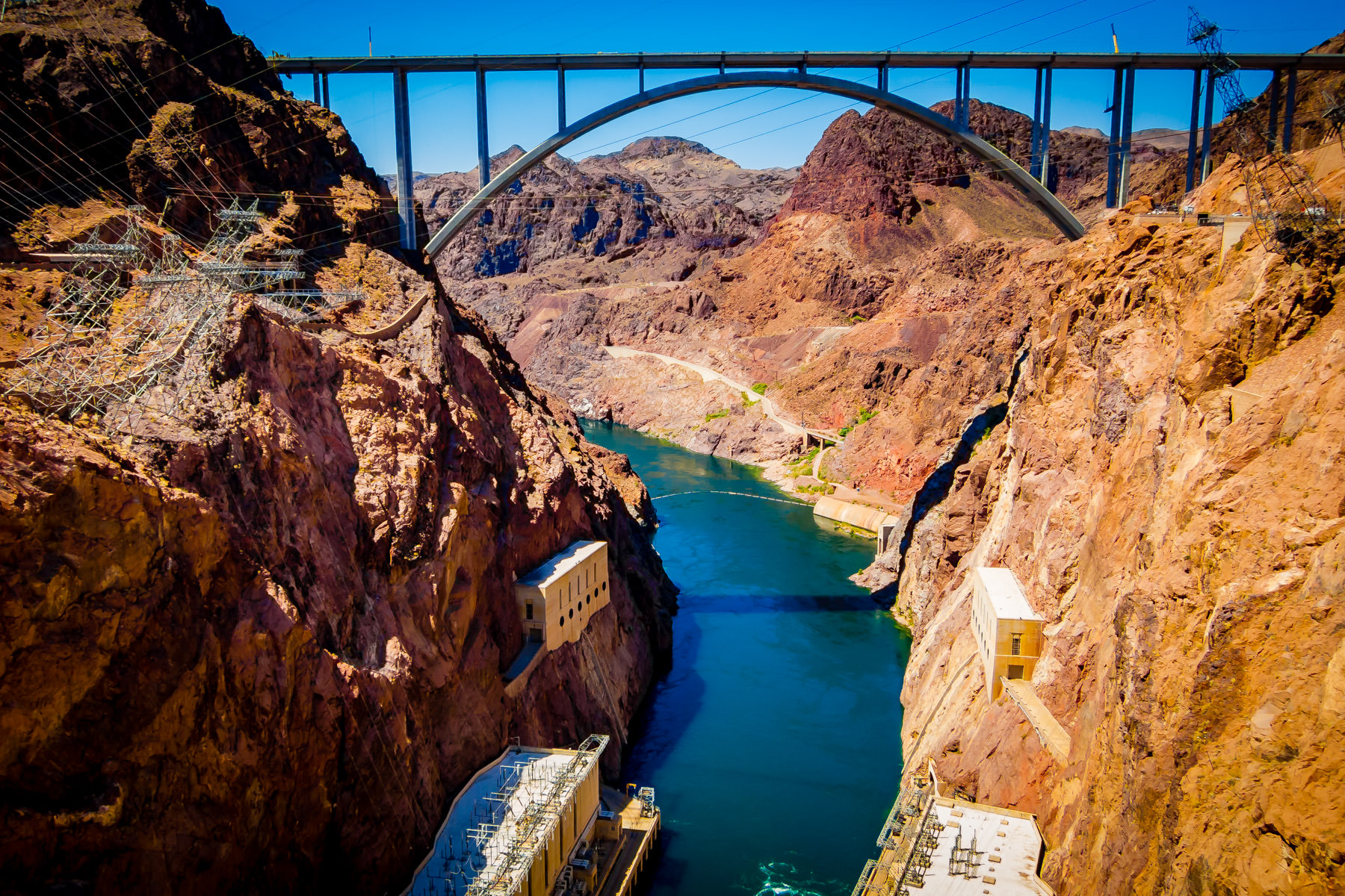 The Mike O'Callaghan–Pat Tillman Memorial Bridge, spanning the Colorado River and connecting Nevada and Arizona, as seen from top of Hoover Dam.