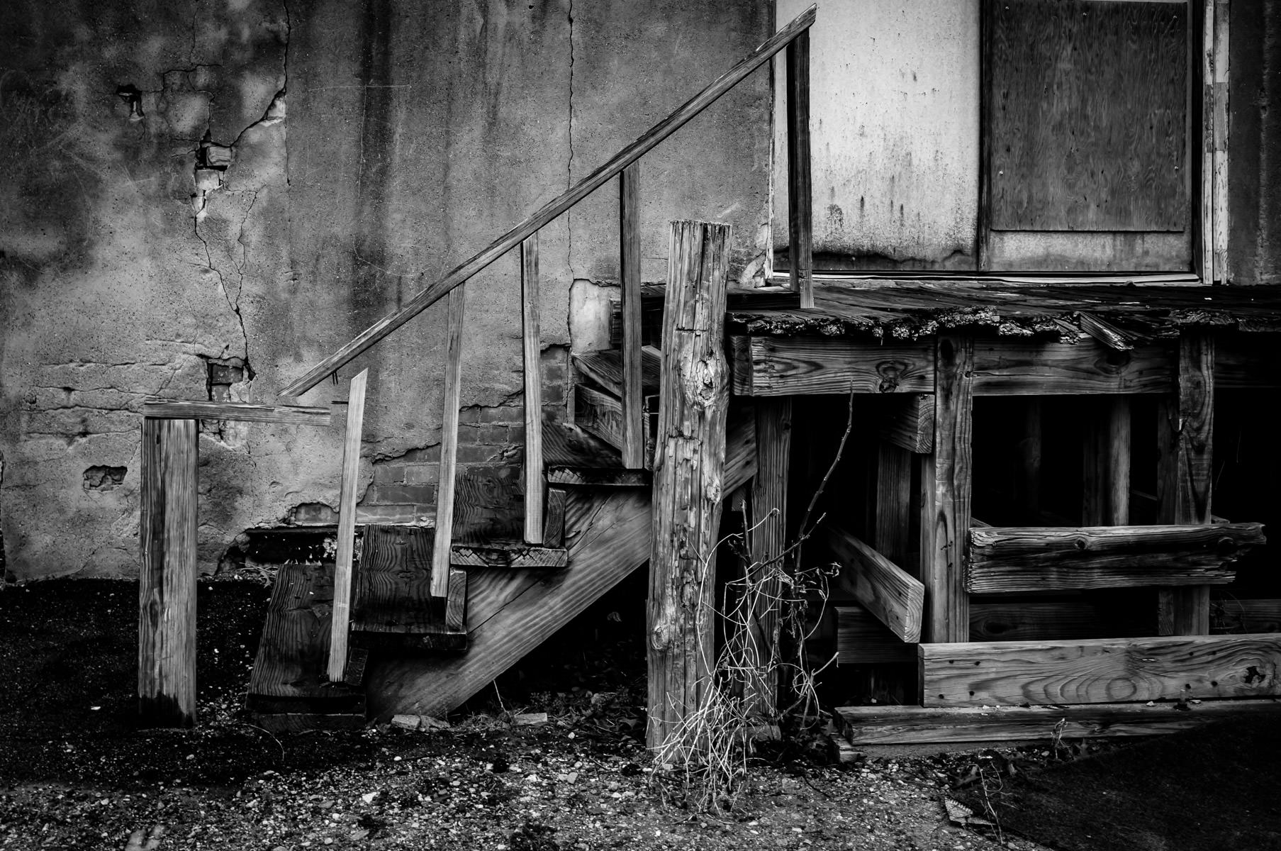 A weathered and worn staircase found in Downtown McKinney, Texas.