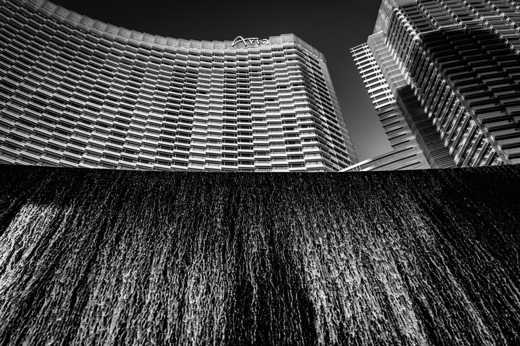 A decorative cascade of water outside The Aria, CityCenter, Las Vegas.
