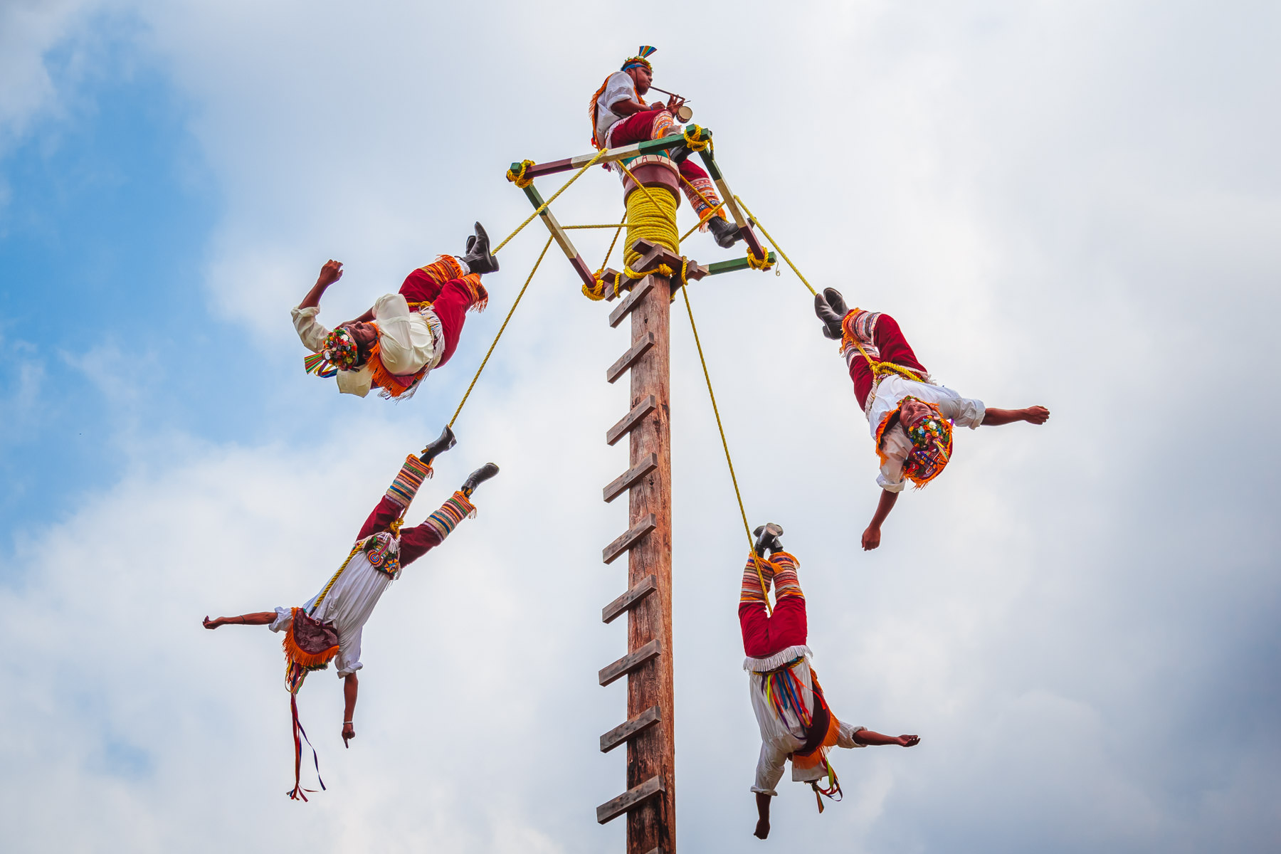 Mayans perform the traditional Danza de los Voladores (Dance of the Flyers) in San Miguel, Cozumel, Mexico.