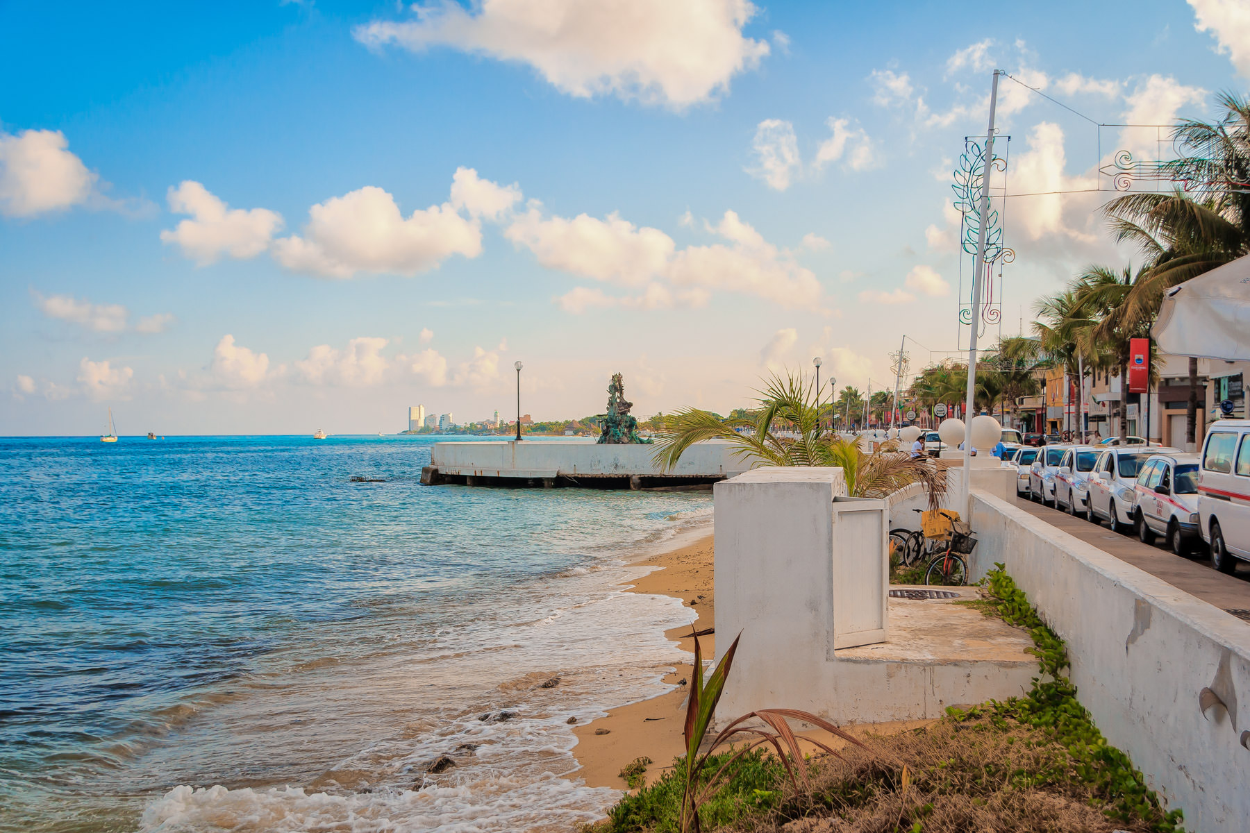 Along the waterfront in San Miguel, Cozumel, Mexico.