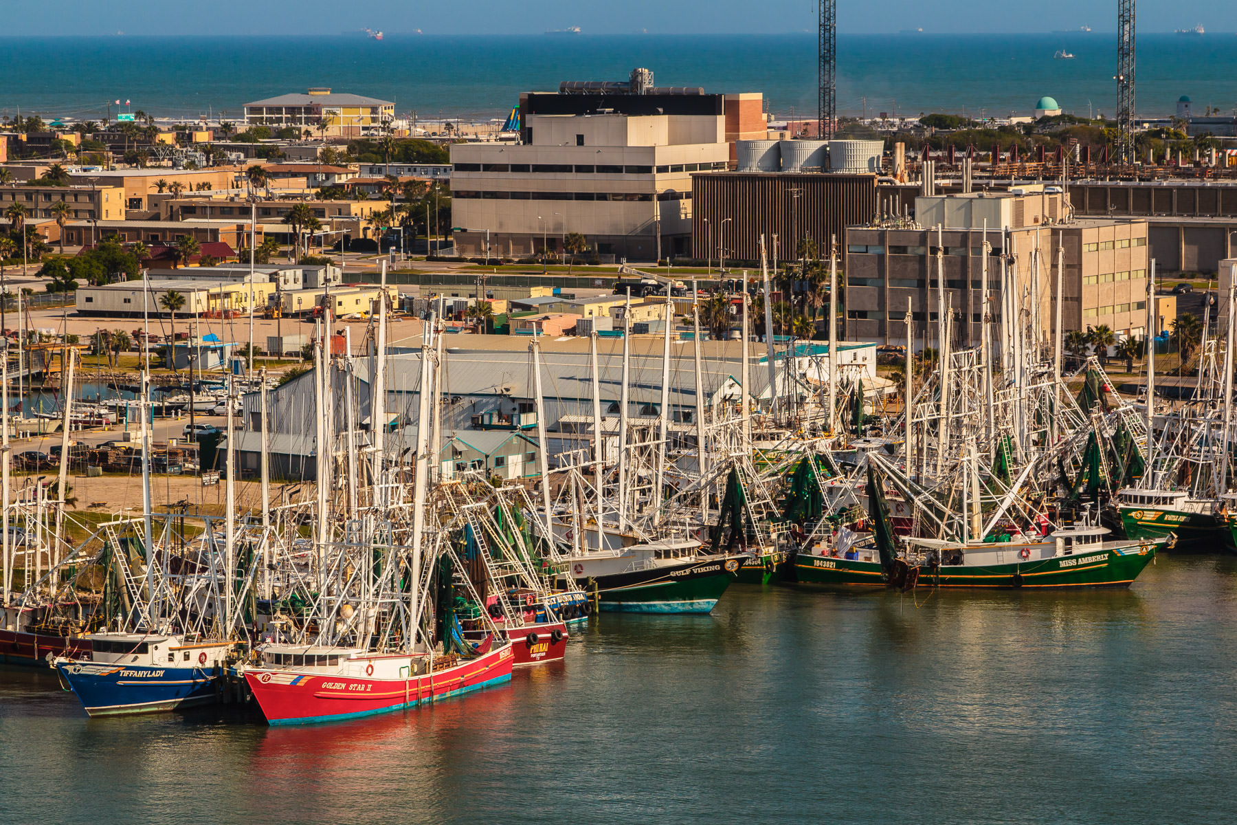 Shrimp trawlers docked in Galveston Harbor, Galveston, Texas.