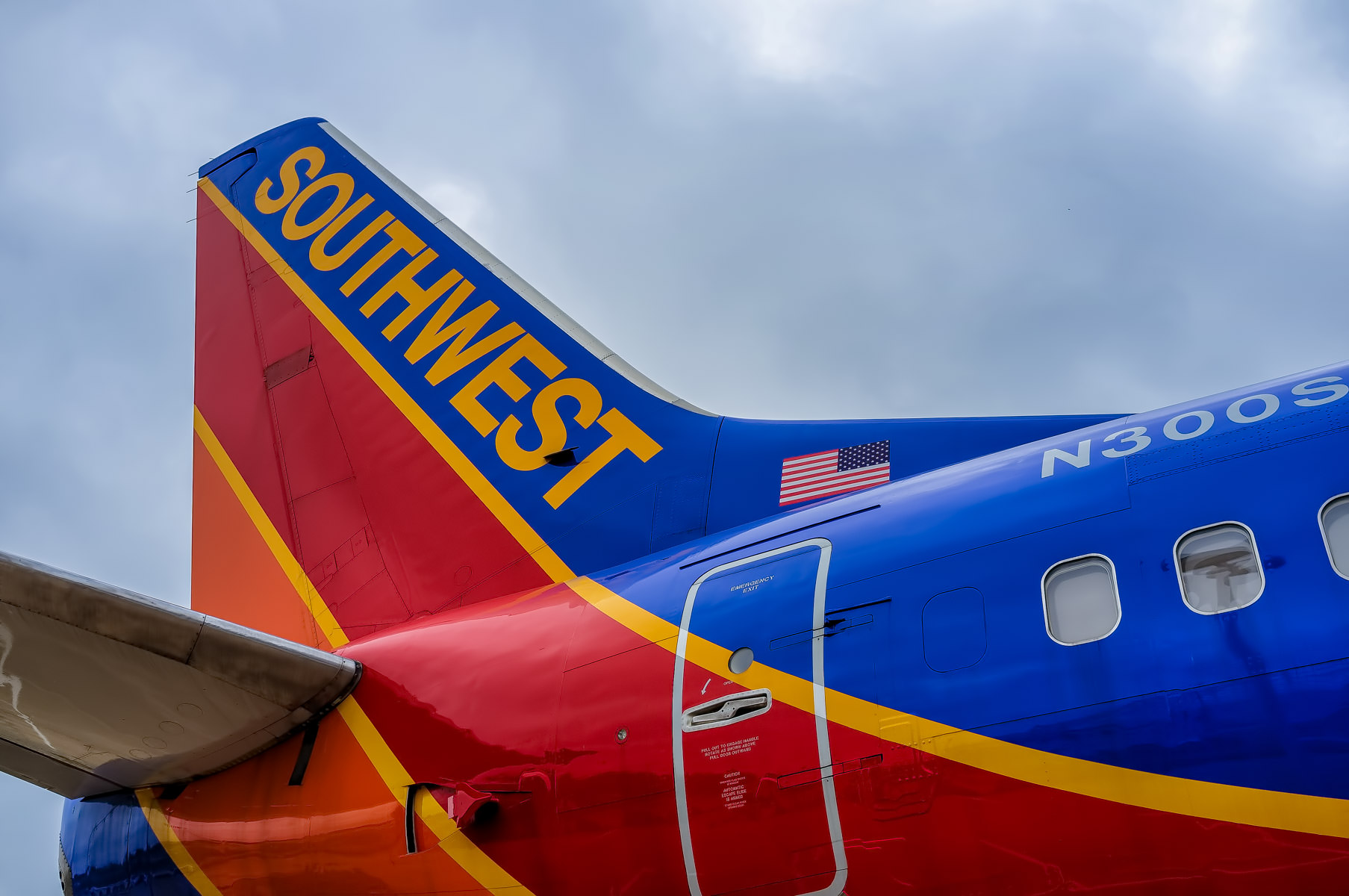 Exterior detail of Southwest Airlines' Spirit of Kitty Hawk, the world's first production Boeing 737-300, now on display at Dallas' Frontiers of Flight Museum at Love Field.