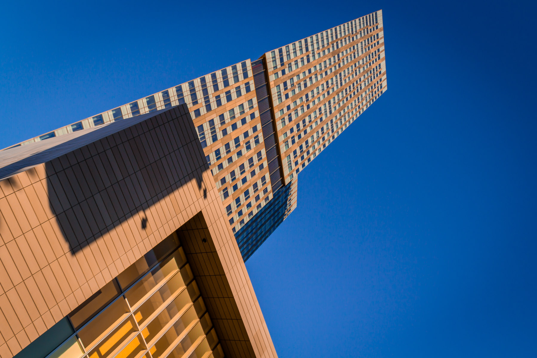 The 56-story Mandarin Oriental rises into the Nevada desert sky at CityCenter, Las Vegas.