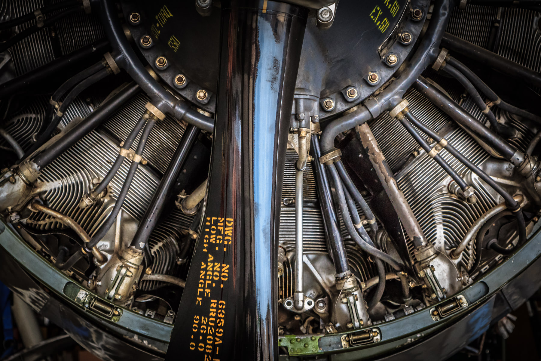 Detail of an airplane engine, spotted at Addison, Texas' Cavanaugh Flight Museum.