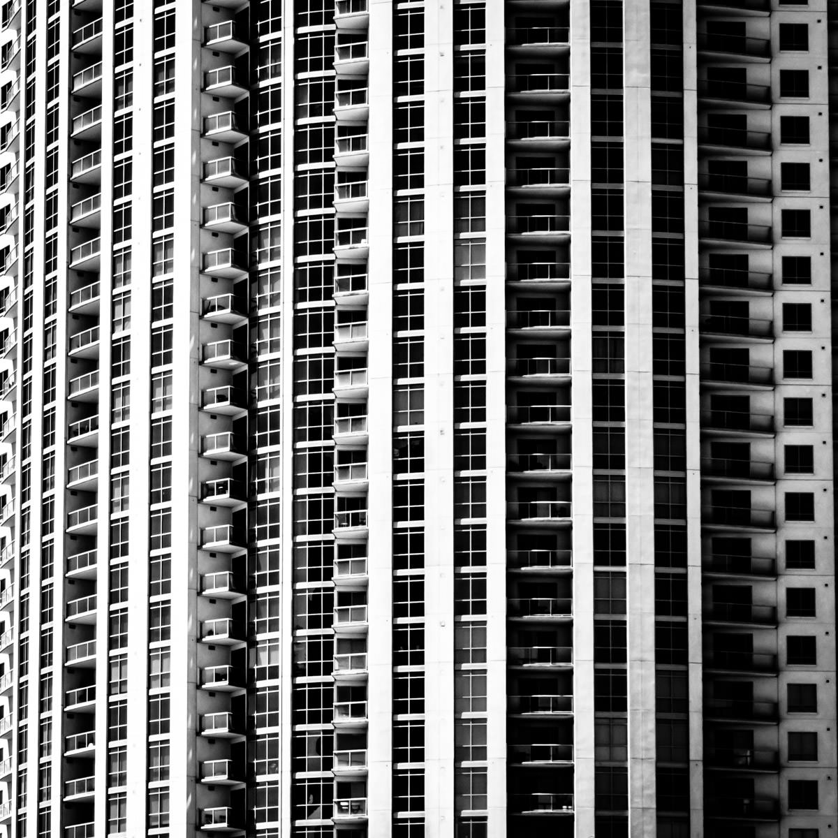 Abstract exterior detail of the Allure Las Vegas condo tower.